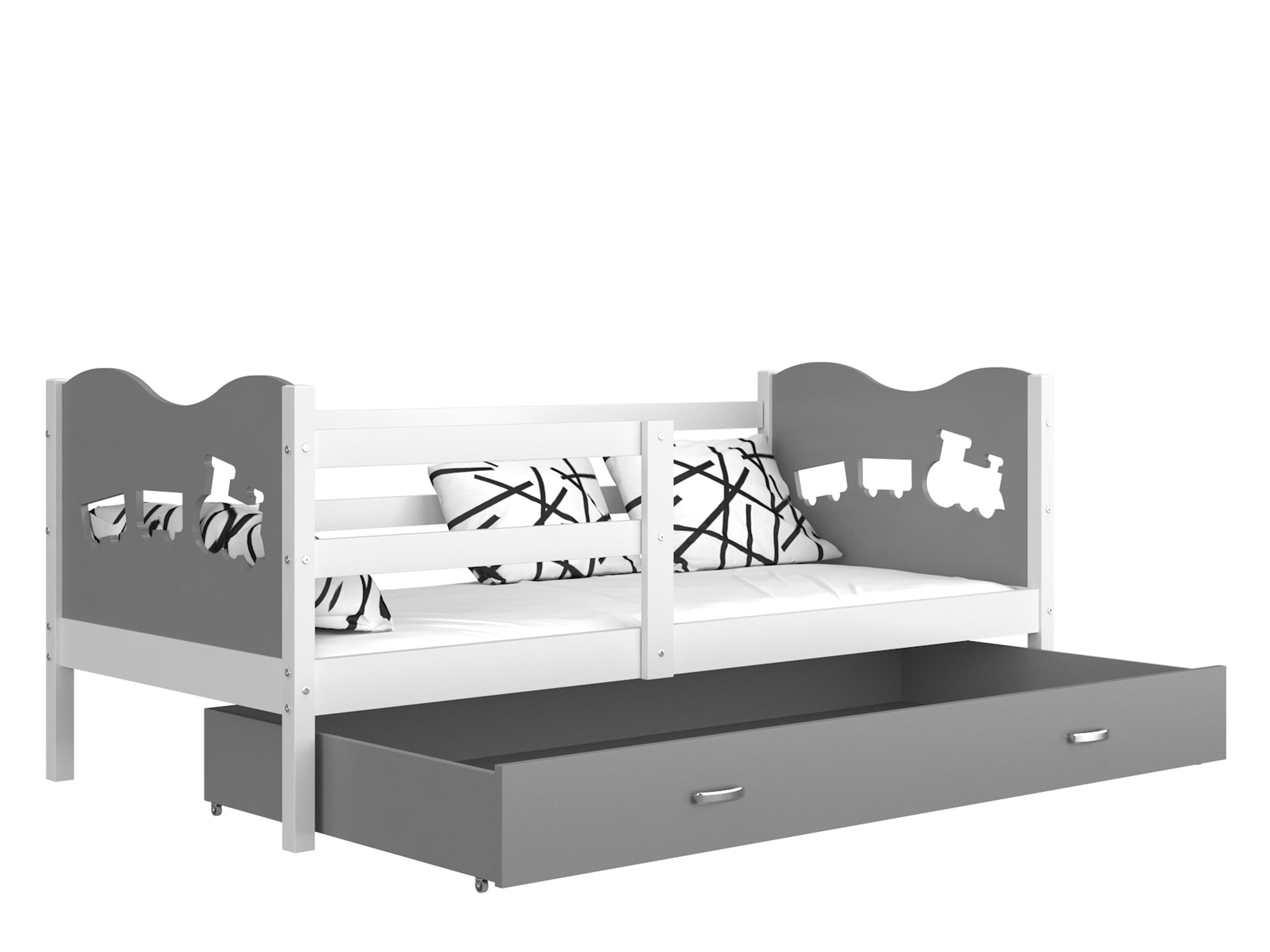 ArtAJ Detská posteľ MAX P / MDF 160 x 80 cm Farba: biela / sivá 160 x 80 cm, s matracom