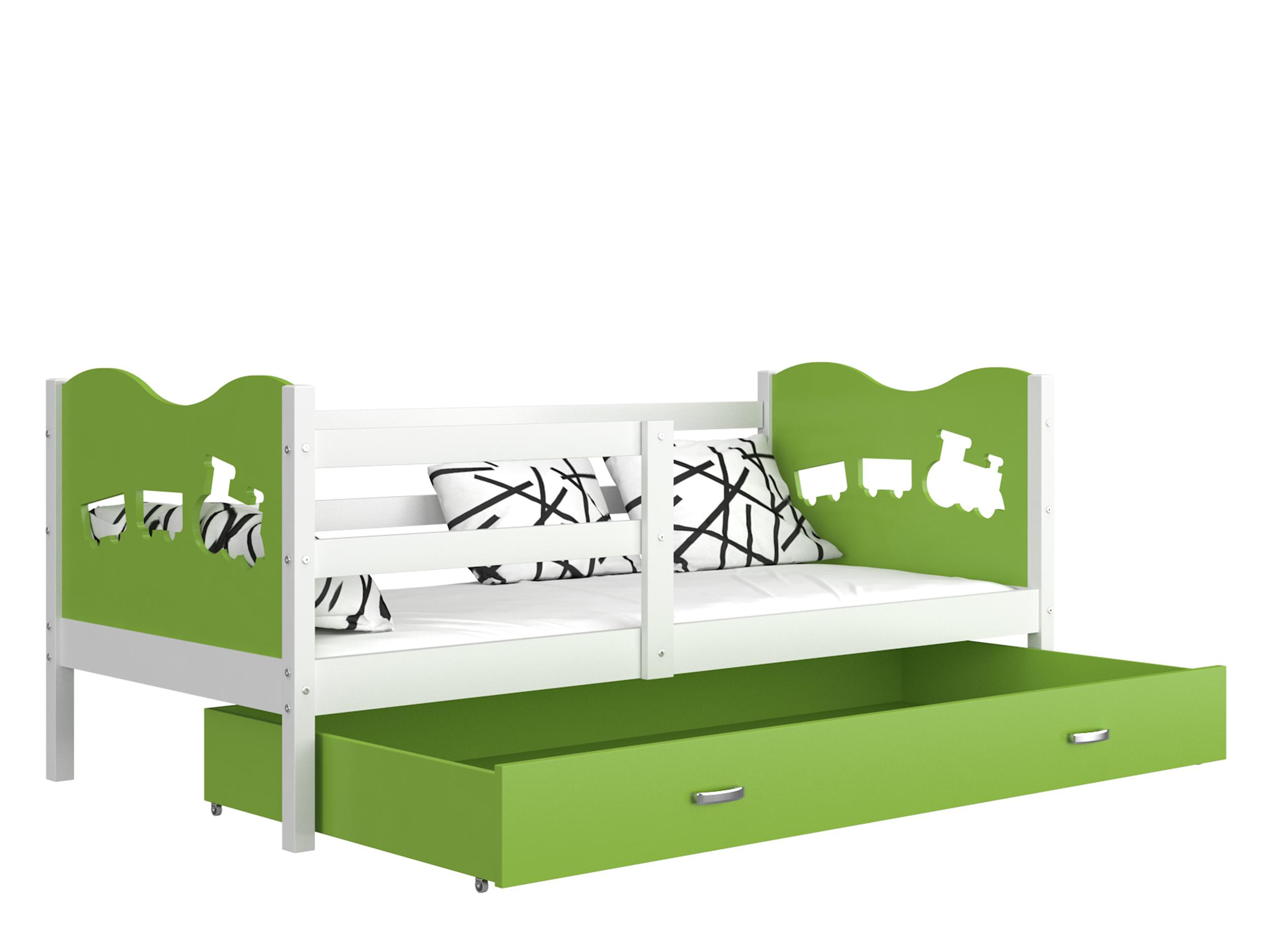 ArtAJ Detská posteľ MAX P / MDF 160 x 80 cm Farba: biela / zelená 160 x 80 cm, s matracom
