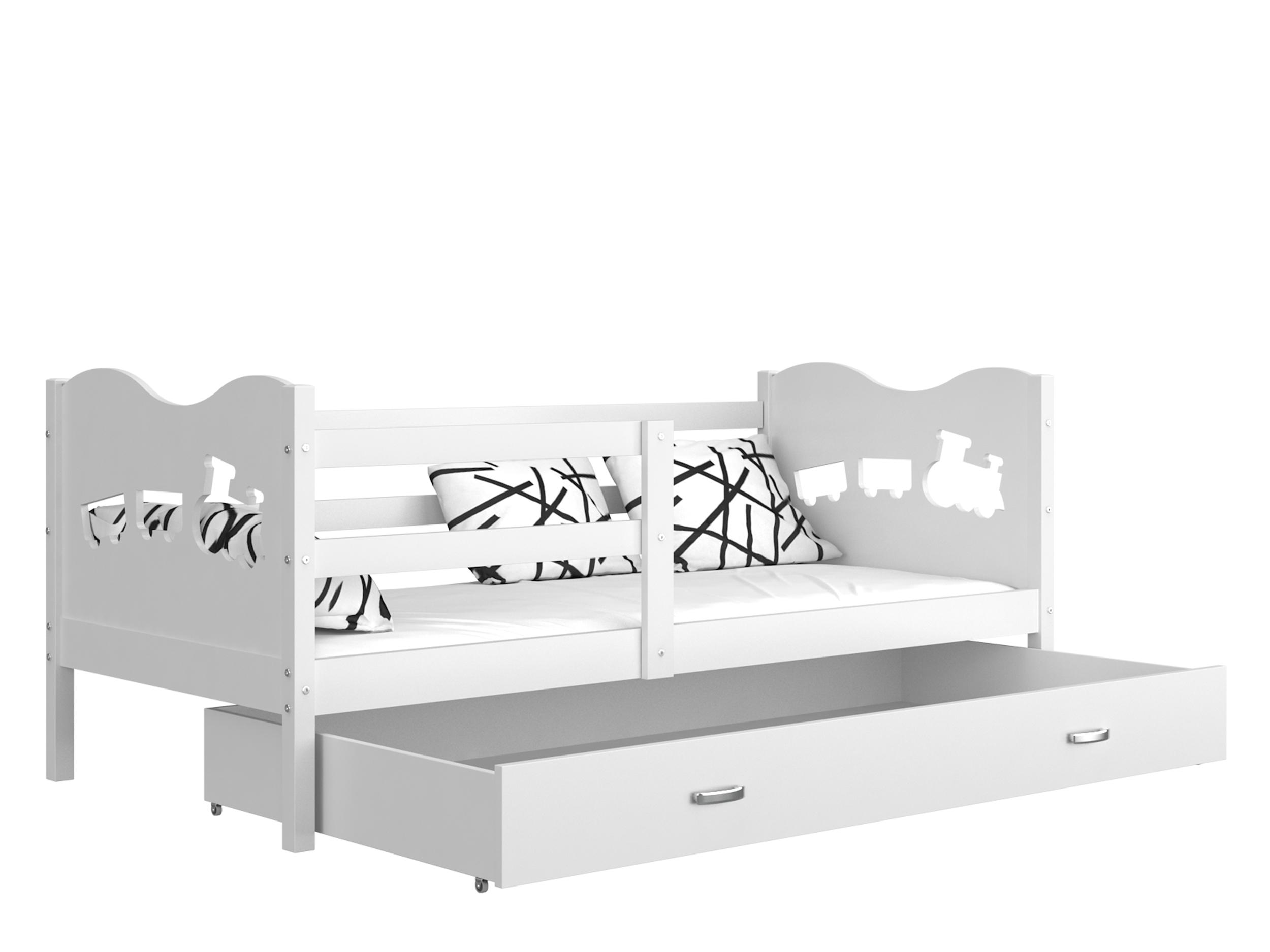 ArtAJ Detská posteľ MAX P / MDF 160 x 80 cm Farba: Biela / biela 160 x 80 cm, s matracom