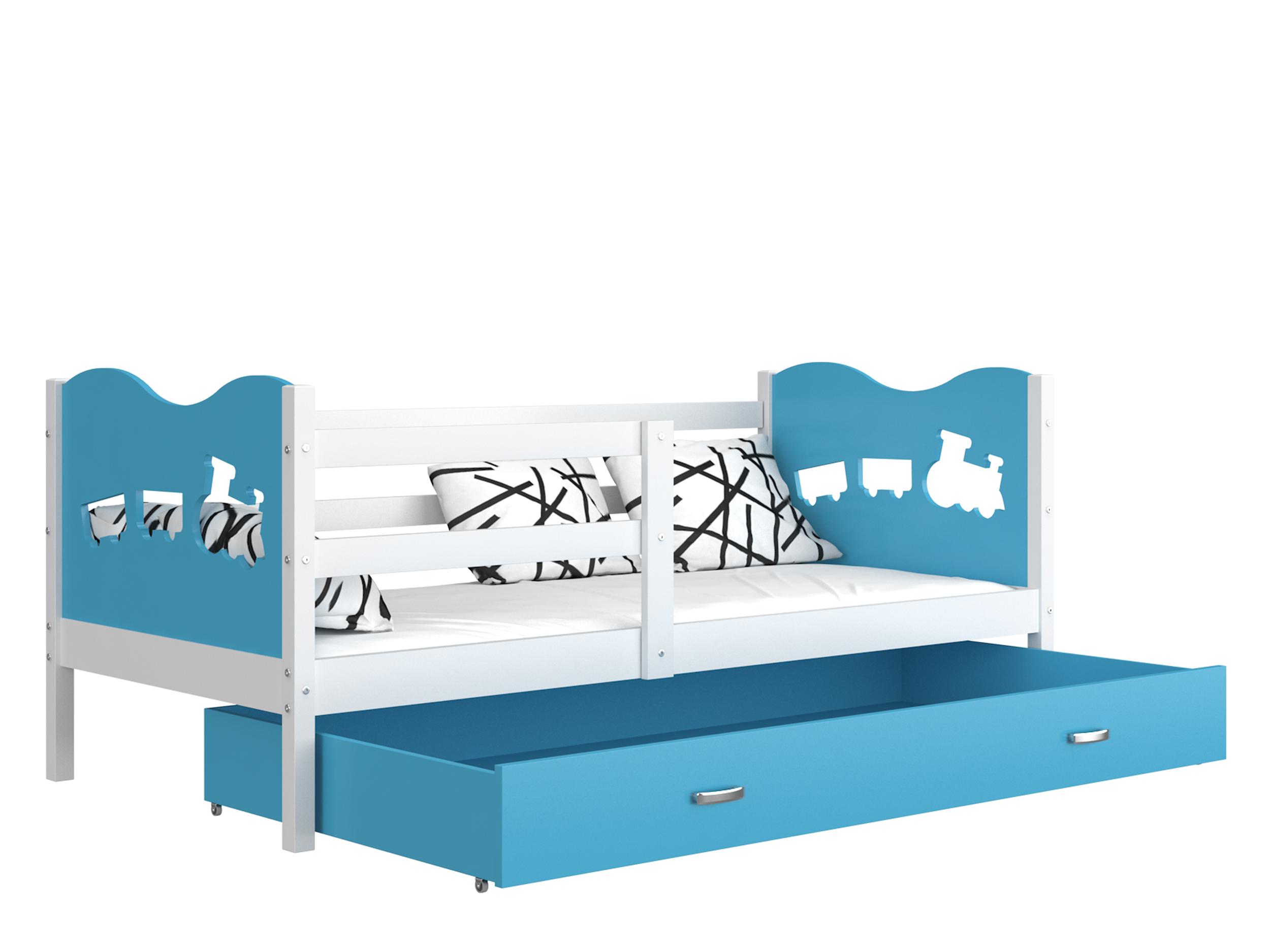 ArtAJ Detská posteľ MAX P / MDF 160 x 80 cm Farba: biela / modrá 160 x 80 cm, s matracom