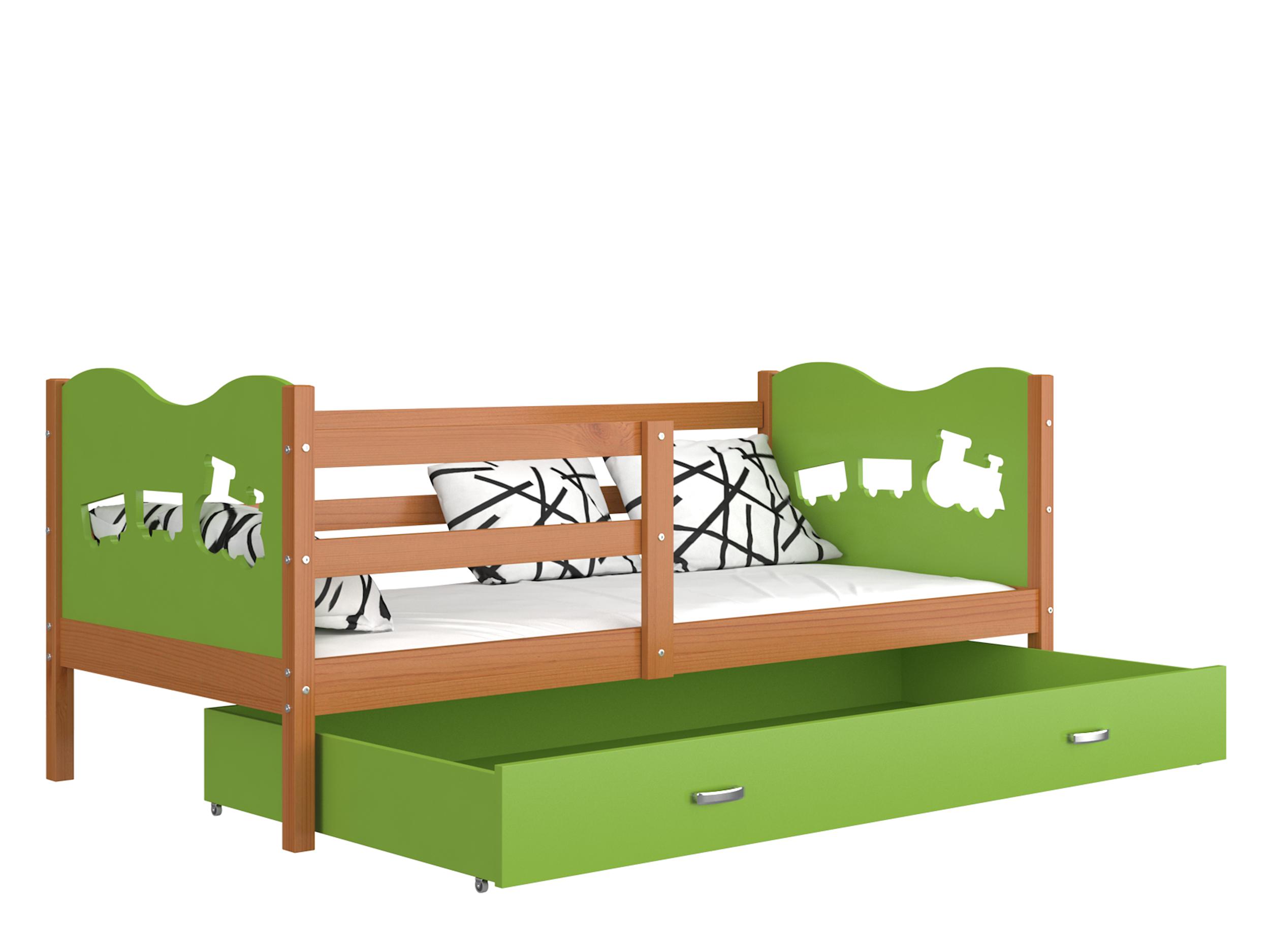 ArtAJ Detská posteľ MAX P drevo / MDF 200 x 90 cm Farba: jelša / zelená 200 x 90 cm s matracom