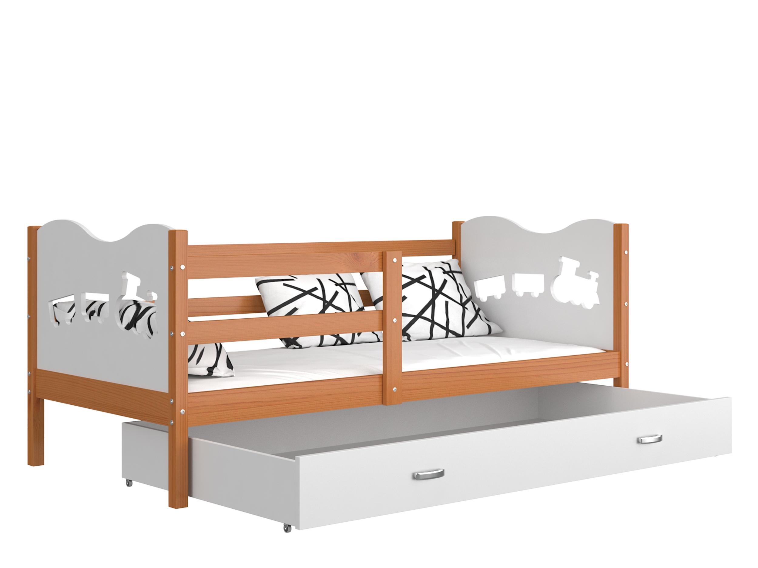 ArtAJ Detská posteľ MAX P drevo / MDF 200 x 90 cm Farba: jelša / biela 200 x 90 cm s matracom