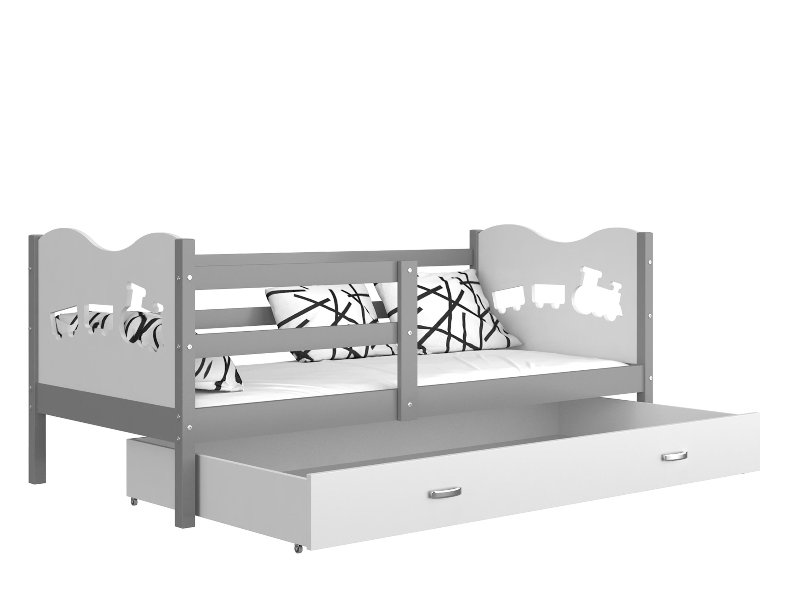 ArtAJ Detská posteľ MAX P / MDF 200 x 90 cm Farba: Sivá / biela 200 x 90 cm, s matracom