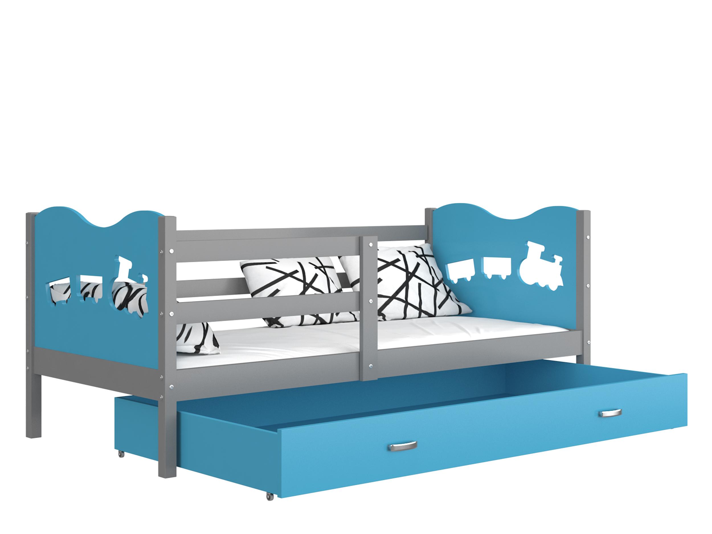 ArtAJ Detská posteľ MAX P / MDF 200 x 90 cm Farba: sivá / modrá 200 x 90 cm, s matracom