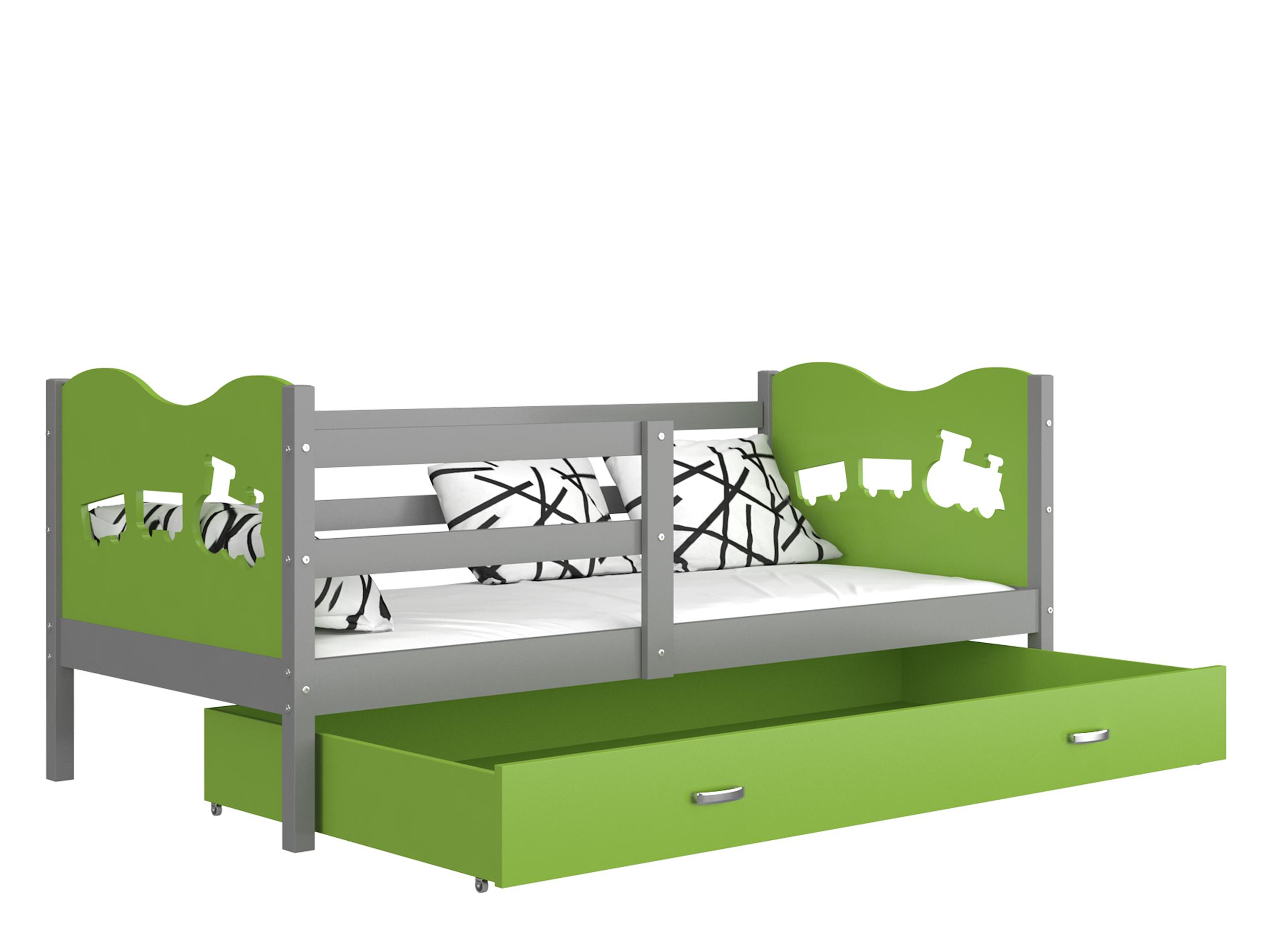 ArtAJ Detská posteľ MAX P / MDF 200 x 90 cm Farba: sivá / zelená 200 x 90 cm, s matracom