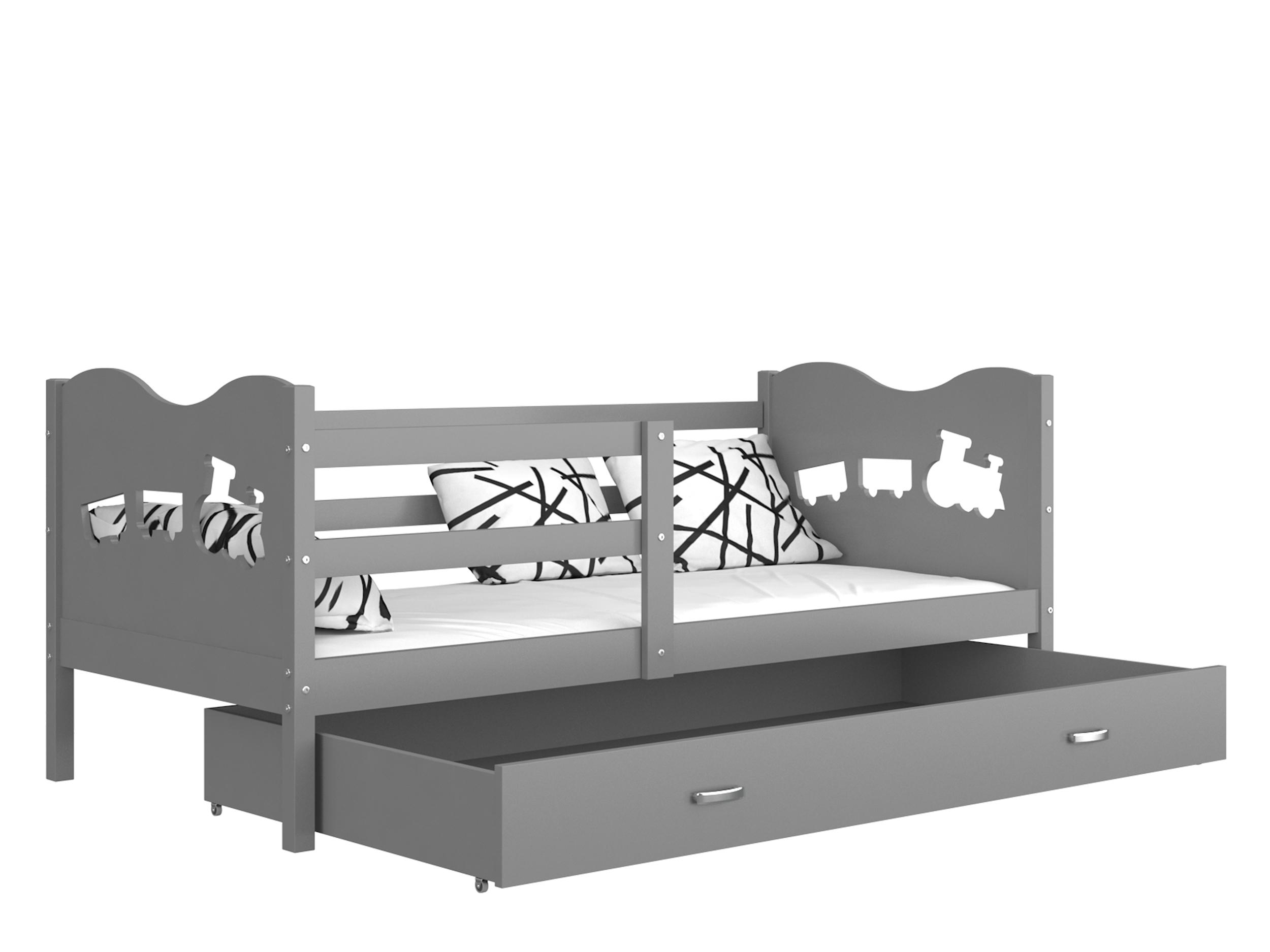 ArtAJ Detská posteľ MAX P / MDF 200 x 90 cm Farba: Sivá / sivá 200 x 90 cm, s matracom