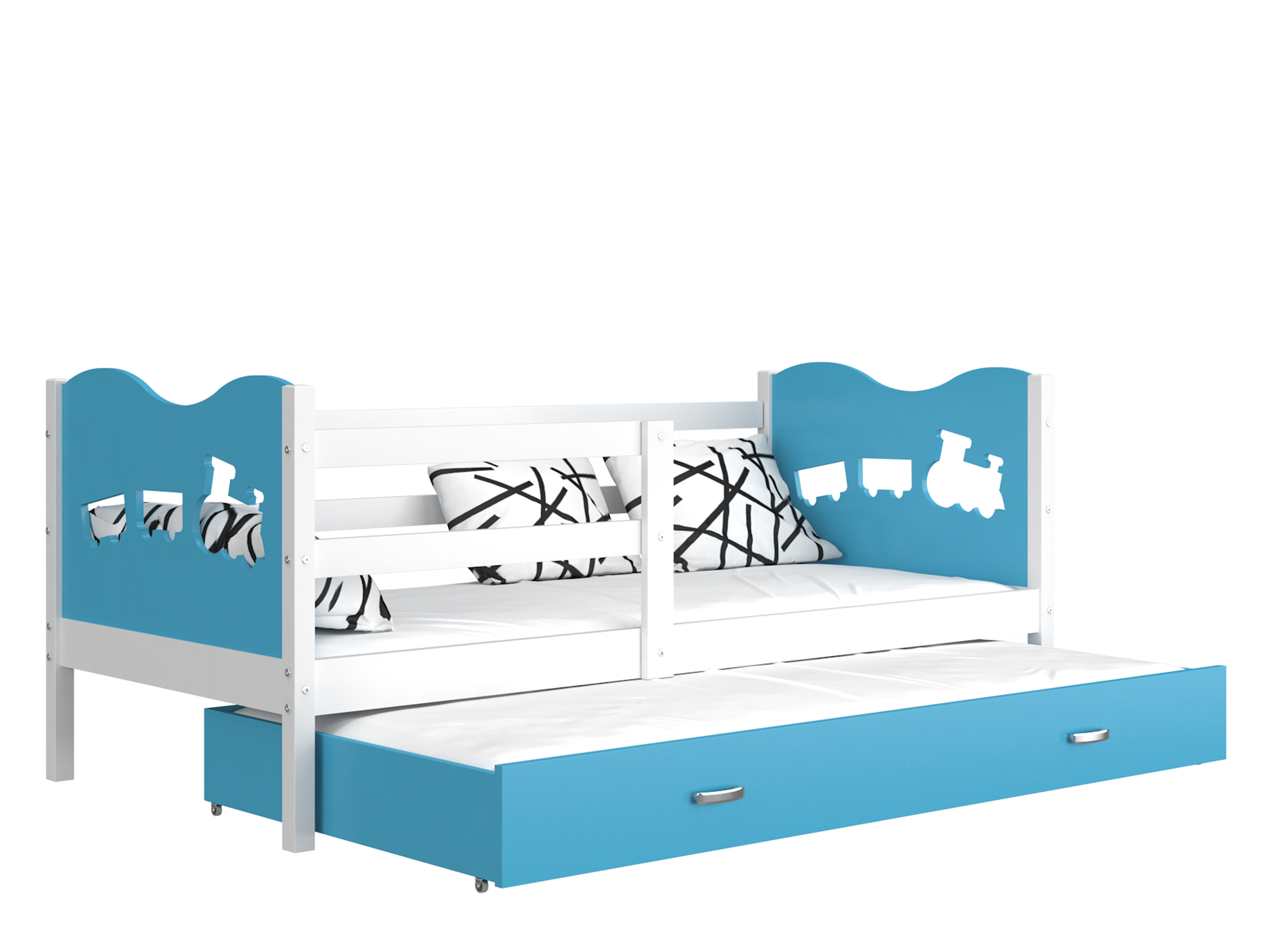 ArtAJ Detská posteľ MAX P2 / MDF 200 x 90 cm Farba: biela / modrá 200 x 90 cm, s matracom