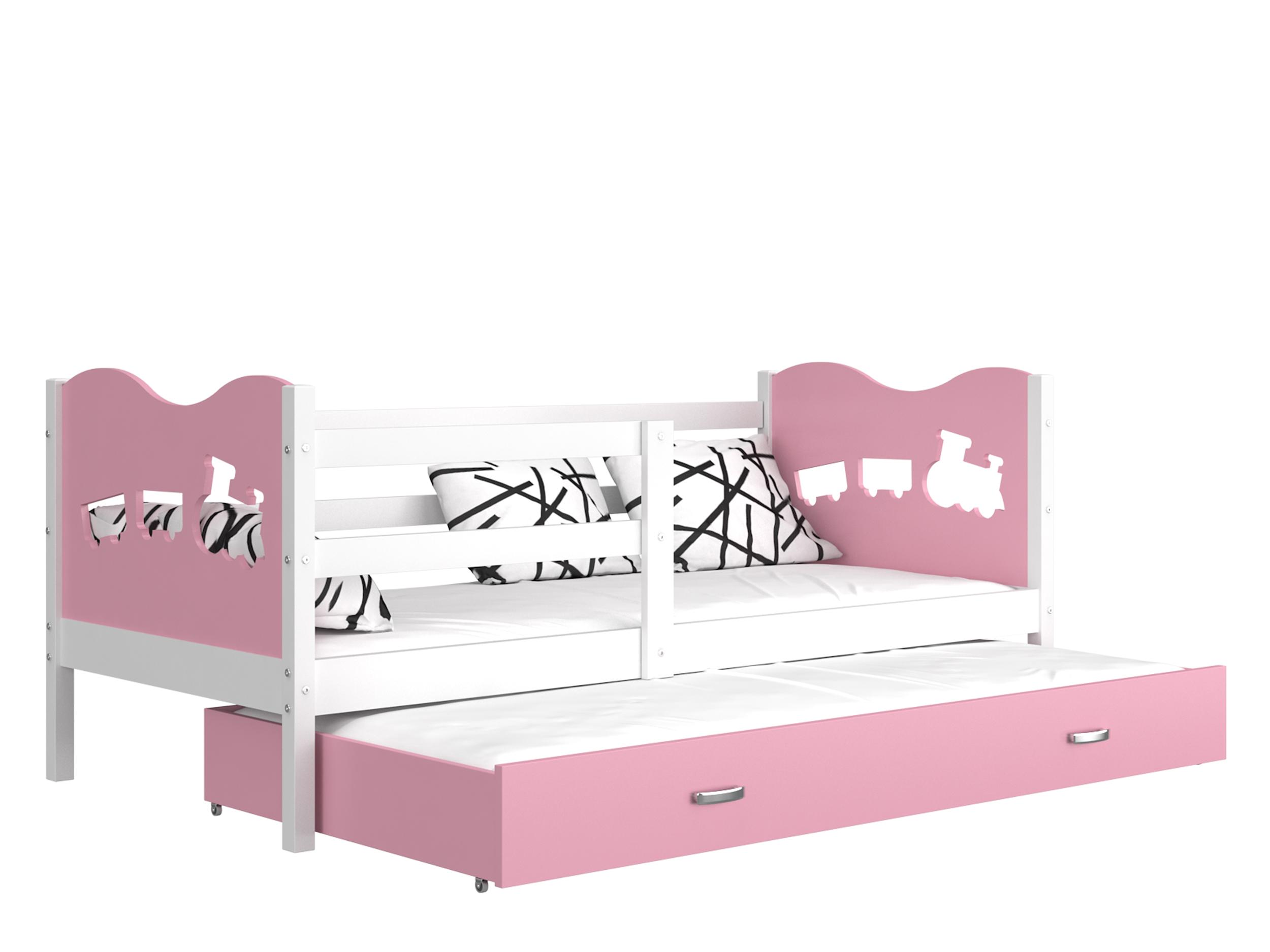 ArtAJ Detská posteľ MAX P2 / MDF 200 x 90 cm Farba: biela / ružová 200 x 90 cm, s matracom