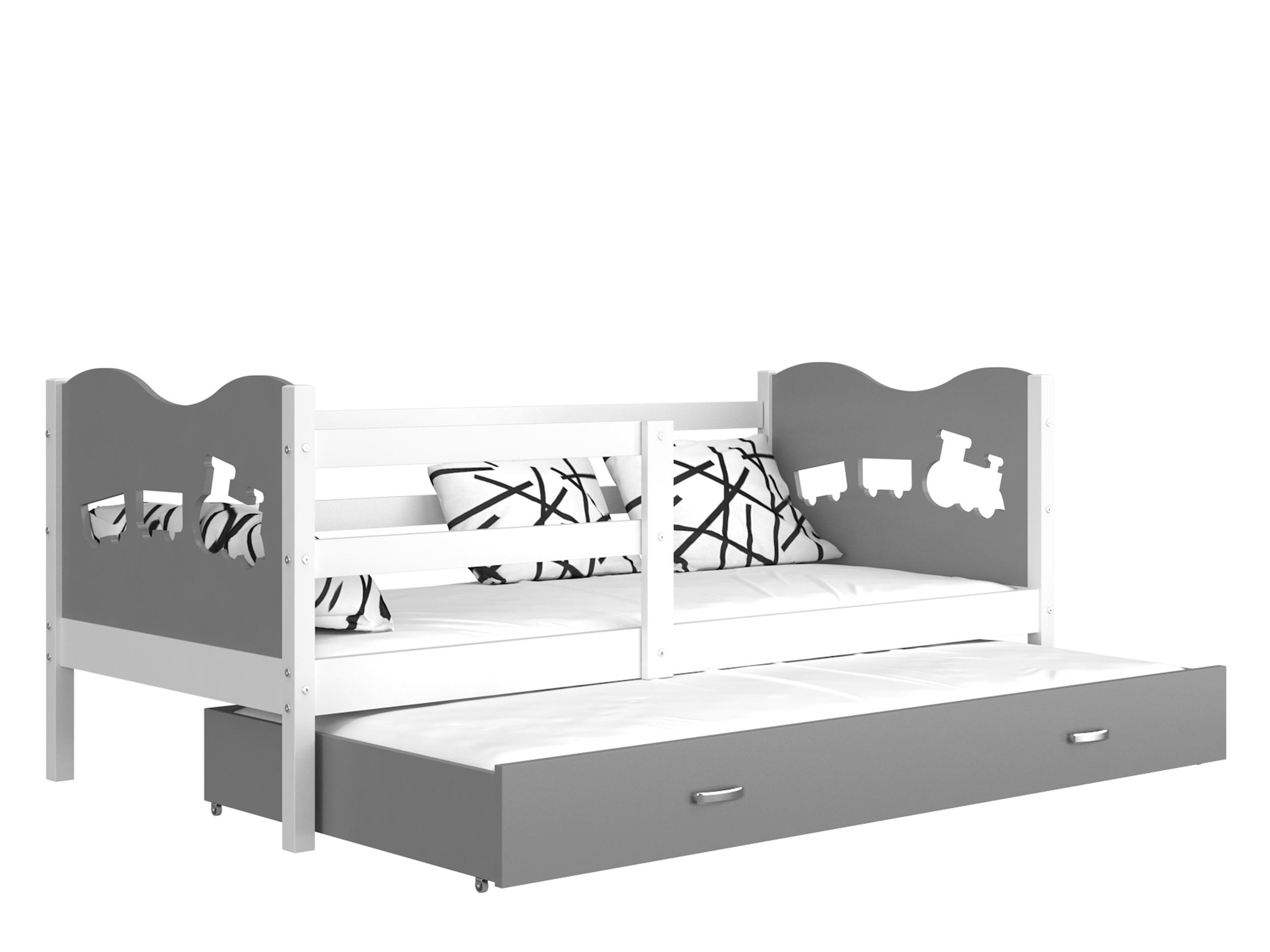 ArtAJ Detská posteľ MAX P2 / MDF 200 x 90 cm Farba: biela / sivá 200 x 90 cm, s matracom