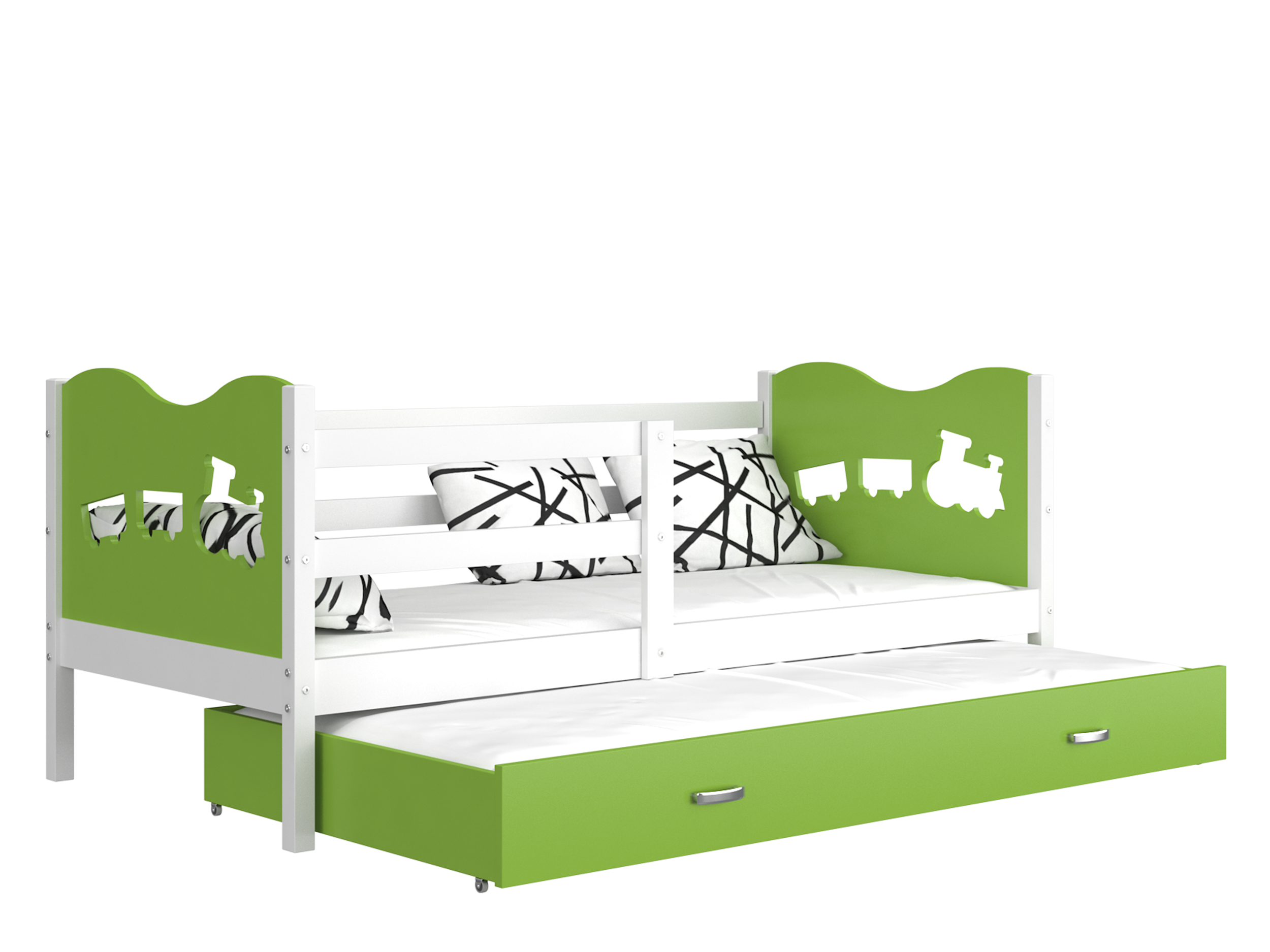 ArtAJ Detská posteľ MAX P2 / MDF 200 x 90 cm Farba: biela / zelená 200 x 90 cm, s matracom