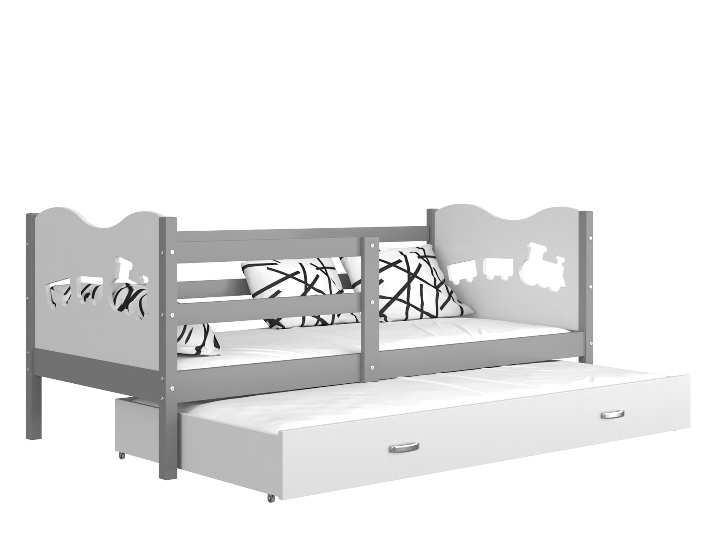 ArtAJ Detská posteľ MAX P2 / MDF 200 x 90 cm Farba: Sivá / biela 200 x 90 cm, s matracom