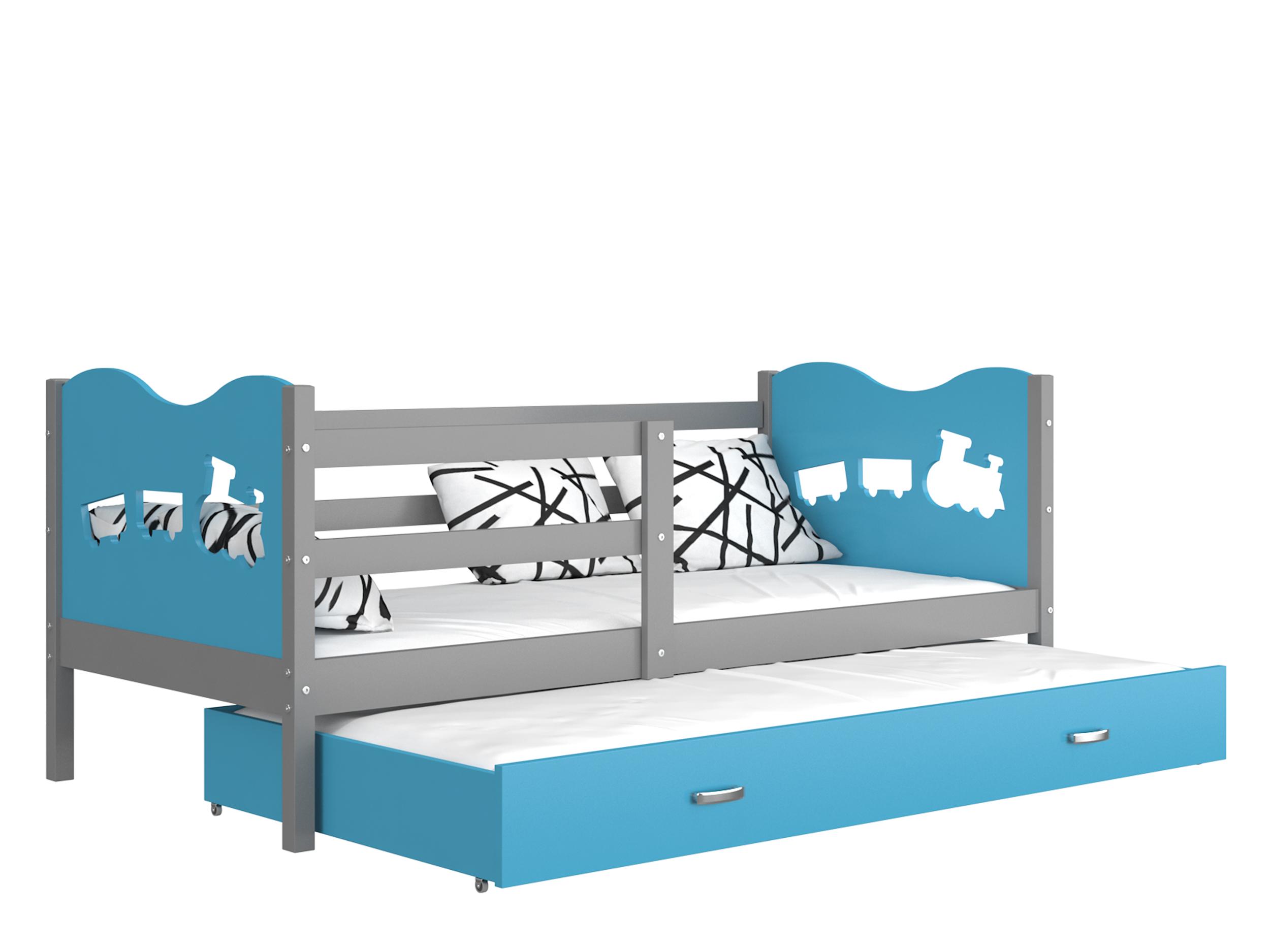 ArtAJ Detská posteľ MAX P2 / MDF 200 x 90 cm Farba: sivá / modrá 200 x 90 cm, s matracom