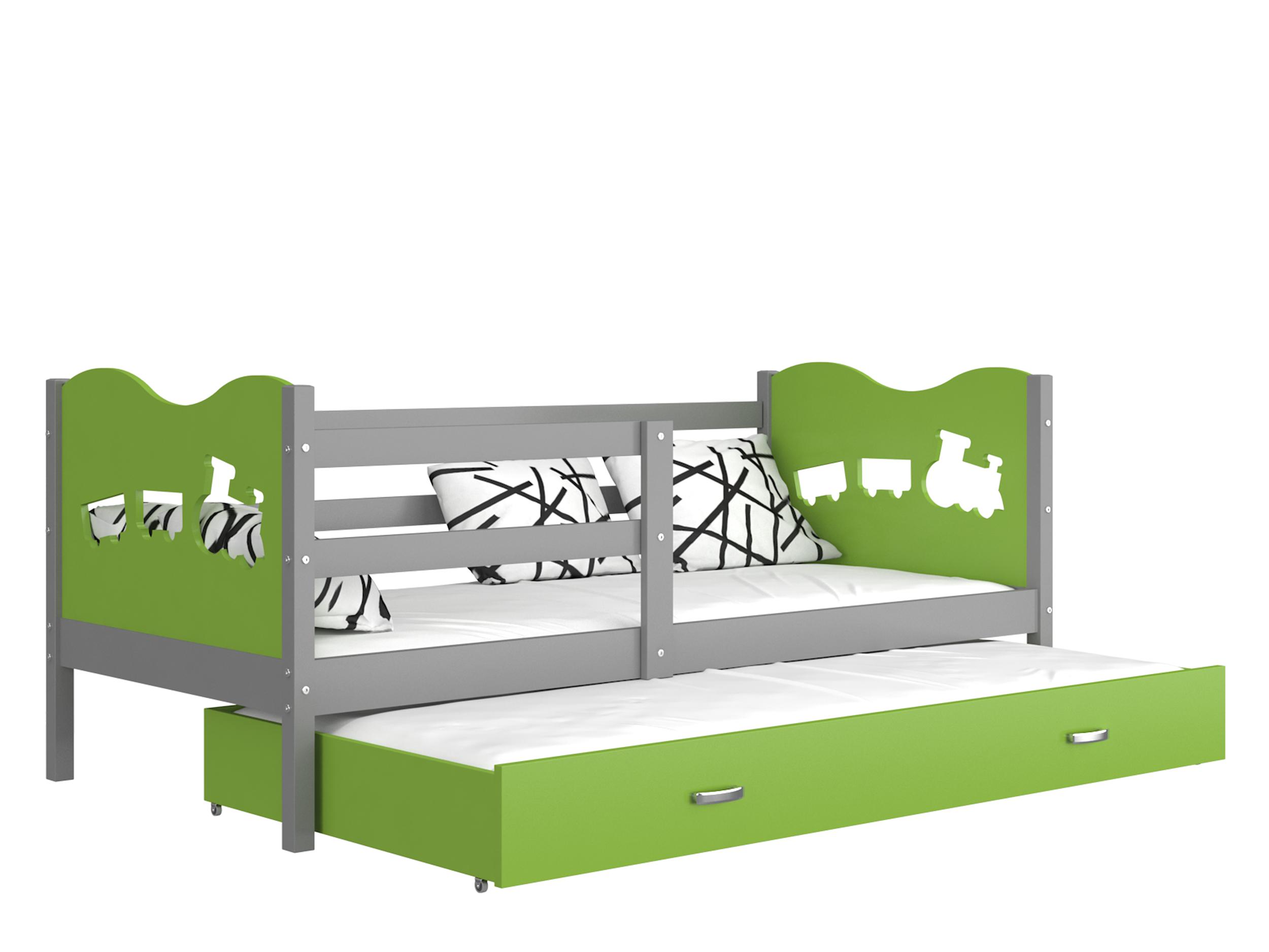 ArtAJ Detská posteľ MAX P2 / MDF 200 x 90 cm Farba: sivá / zelená 200 x 90 cm, s matracom