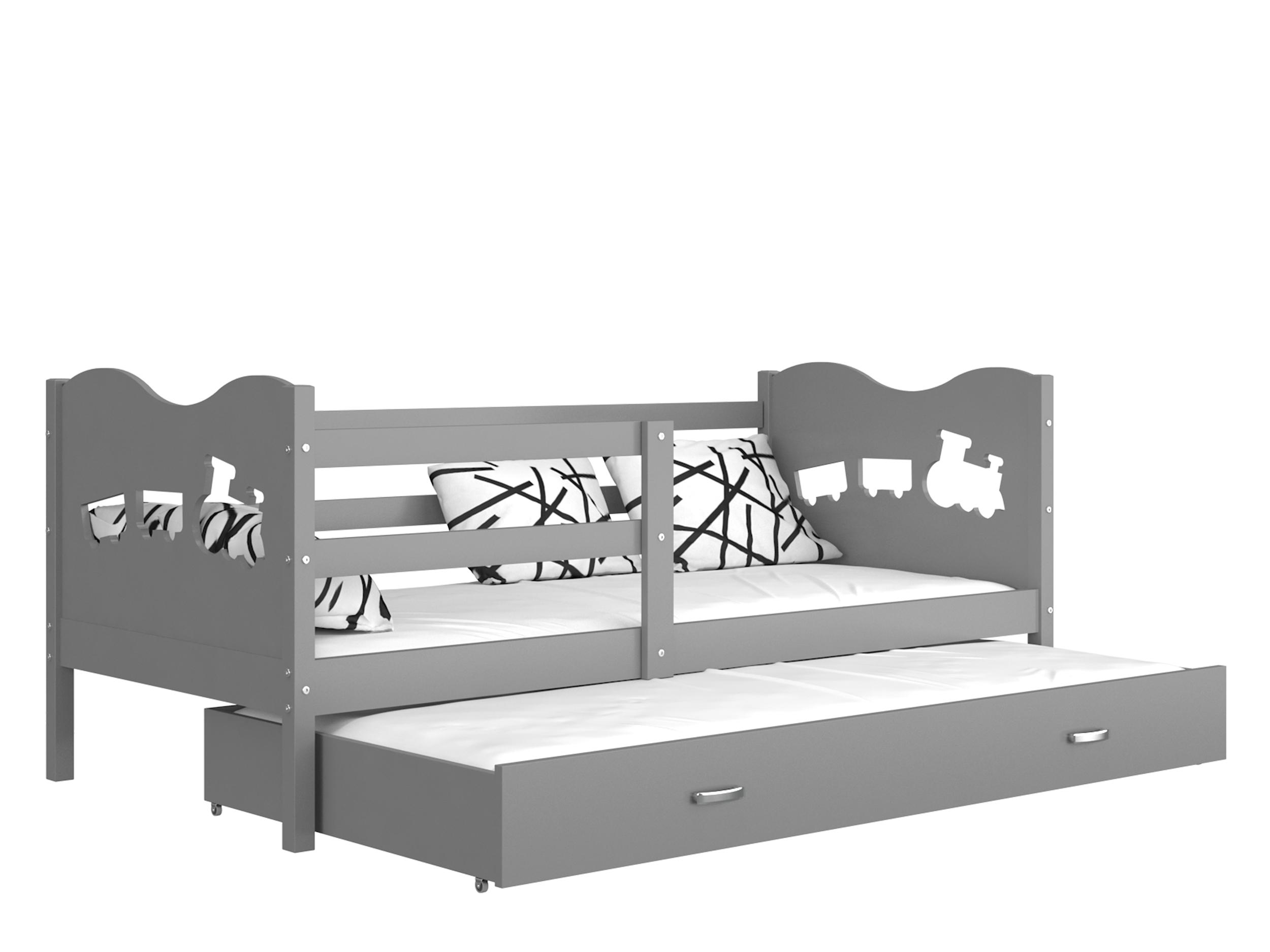 ArtAJ Detská posteľ MAX P2 / MDF 200 x 90 cm Farba: Sivá / sivá 200 x 90 cm, s matracom