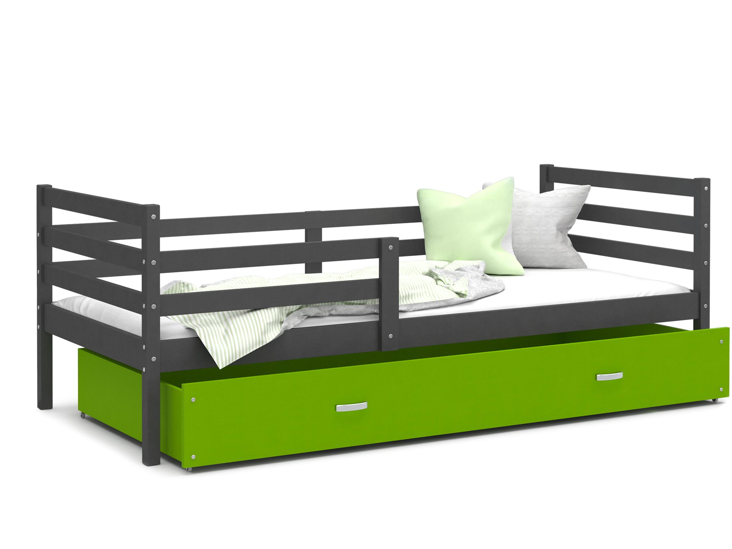ArtAJ Detská posteľ JACEK P | 190 x 80 cm Farba: Sivá / zelená, Prevedenie: bez matraca, Rozmer.: MDF