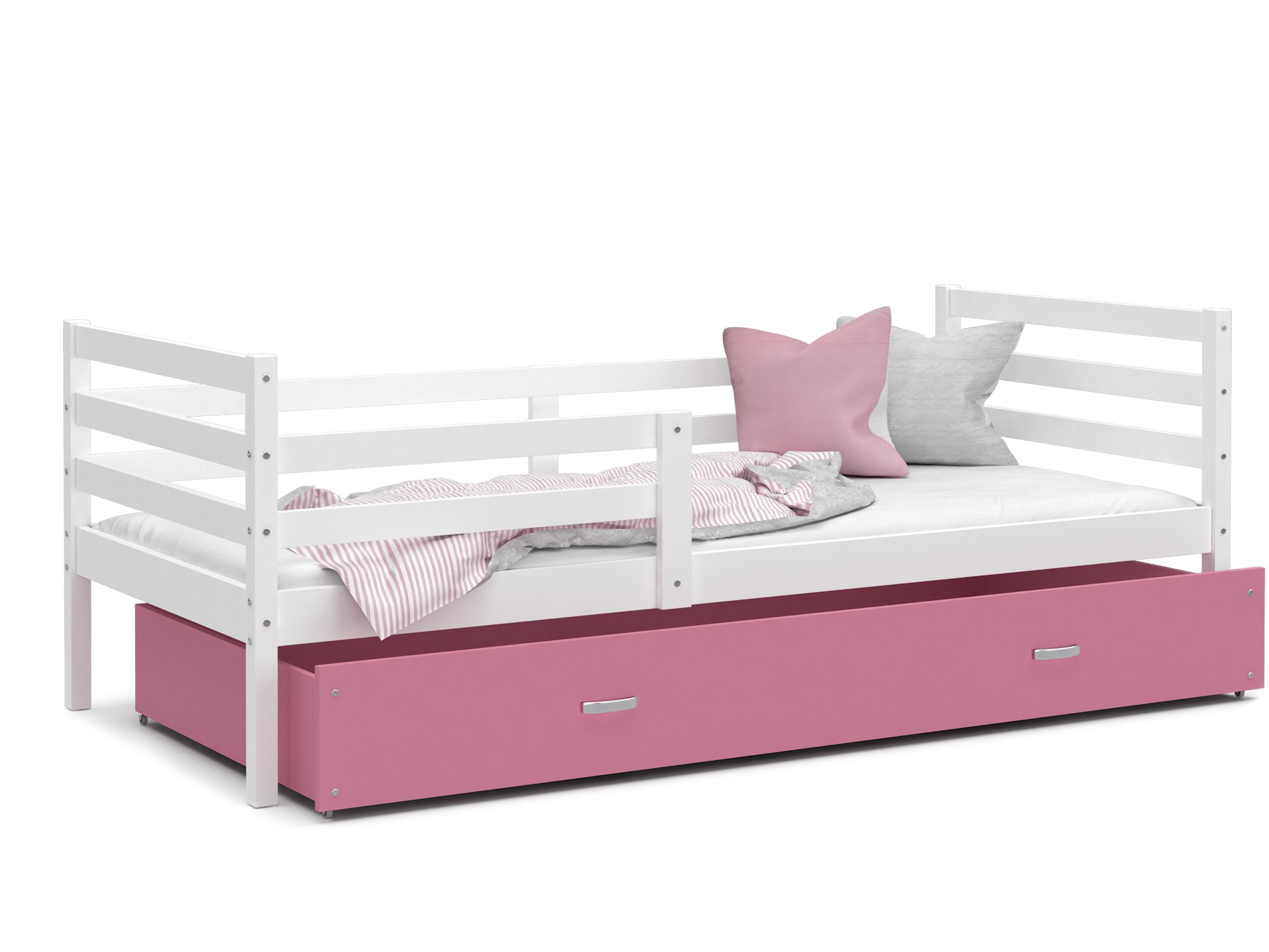 ArtAJ Detská posteľ JACEK P   190 x 80 cm Farba: biela / ružová, Prevedenie: bez matraca, Rozmer, materiál: MDF