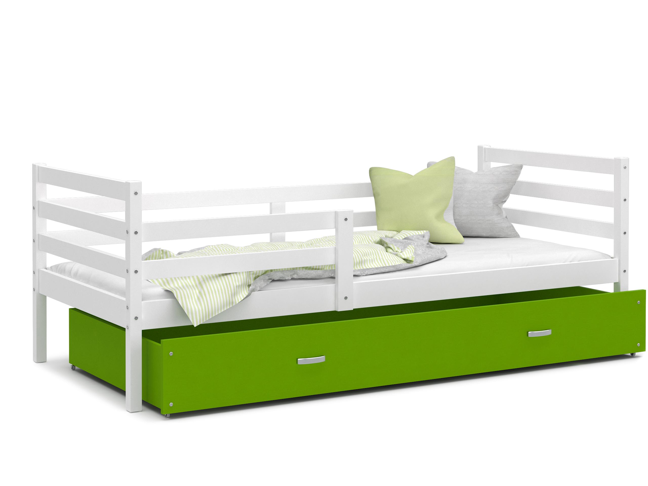 ArtAJ Detská posteľ JACEK P   190 x 80 cm Farba: biela / zelená, Prevedenie: bez matraca, Rozmer, materiál: MDF