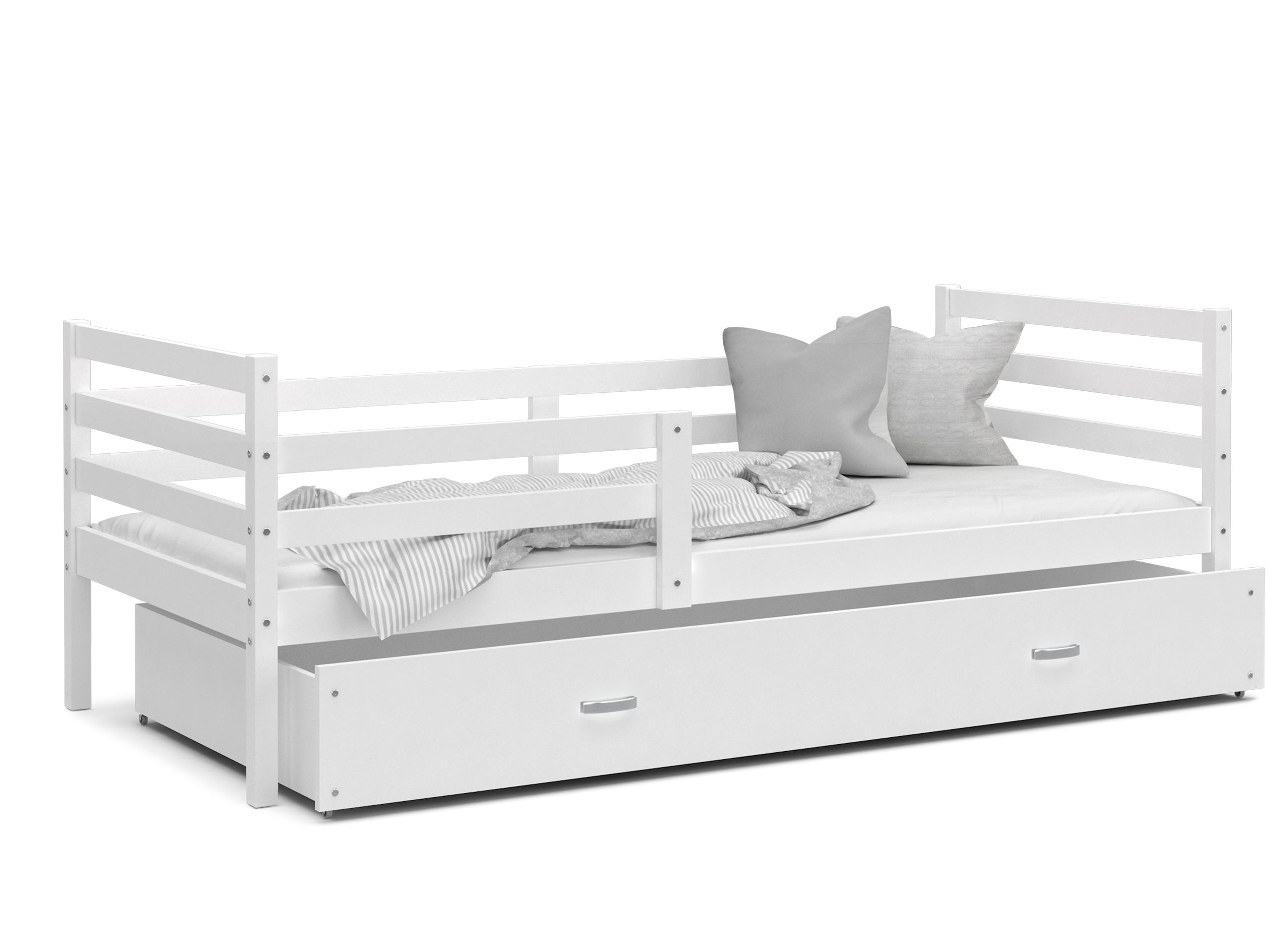 ArtAJ Detská posteľ JACEK P   190 x 80 cm Farba: Biela / biela, Prevedenie: bez matraca, Rozmer, materiál: MDF
