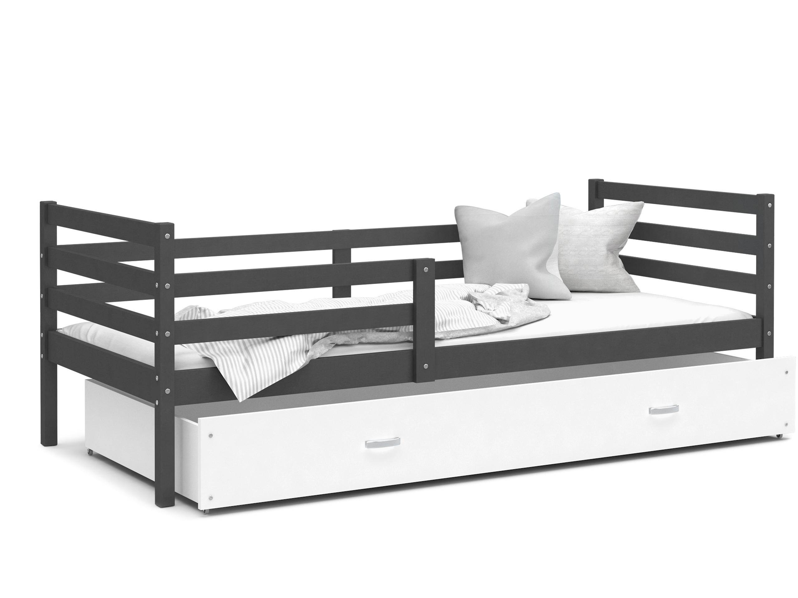 ArtAJ Detská posteľ JACEK P | 190 x 80 cm Farba: Sivá / biela, Prevedenie: bez matraca, Rozmer.: MDF