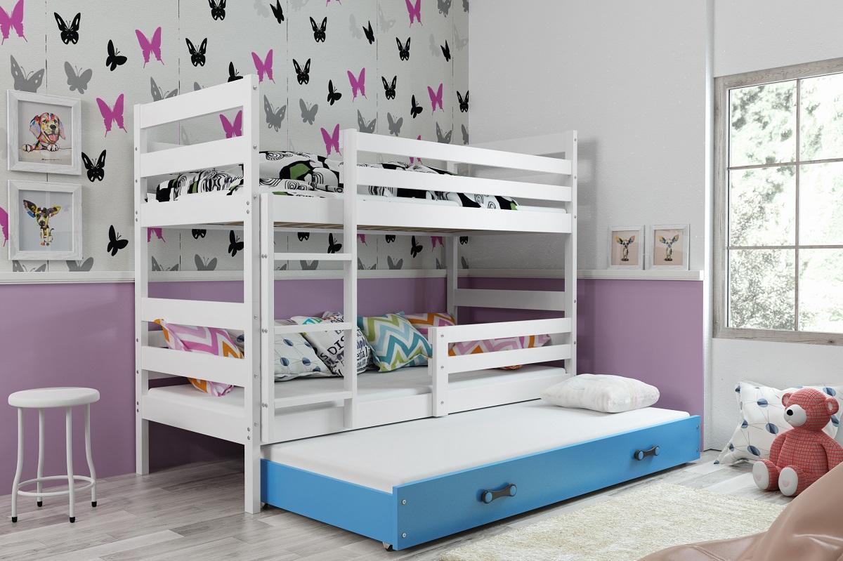 BMS Detská poschodová posteľ s prístelkou ERYK 3 | biela Farba: biela / modrá, Rozmer.: 200 x 90 cm