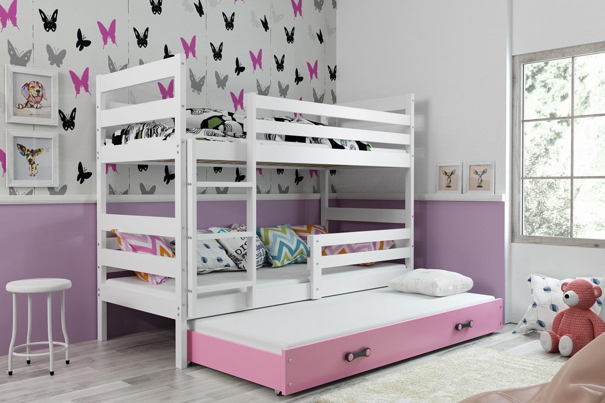 BMS Detská poschodová posteľ s prístelkou ERYK 3 | BIELA Farba: biela / ružová, Rozmer.: 200 x 90 cm