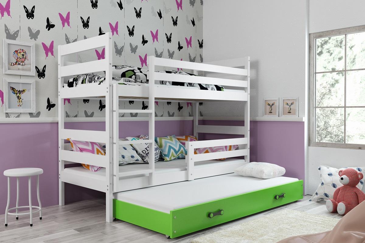 BMS Detská poschodová posteľ s prístelkou ERYK 3 | biela Farba: biela / zelená, Rozmer.: 200 x 90 cm