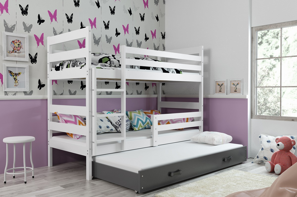 BMS Detská poschodová posteľ s prístelkou ERYK 3 | BIELA Farba: biela / sivá, Rozmer.: 200 x 90 cm