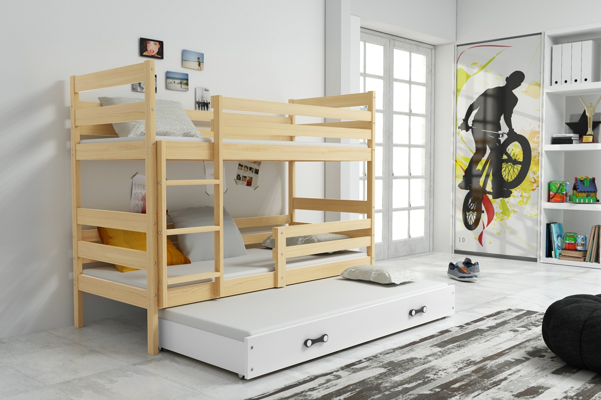 BMS Detská poschodová posteľ s prístelkou ERYK 3 | BOROVICA Farba: Borovica / biela, Rozmer.: 160 x 80 cm