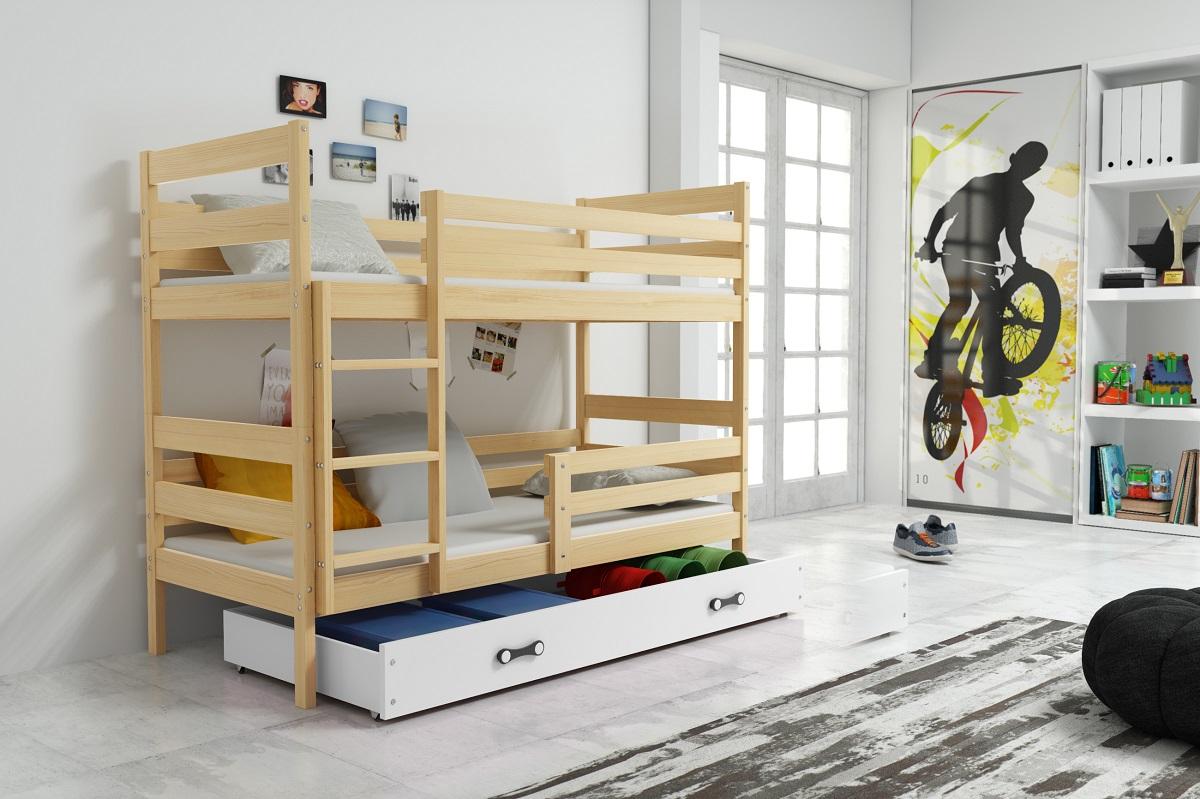 BMS Detská poschodová posteľ ERYK | BOROVICA Farba: Borovica / biela, Rozmer.: 200 x 90 cm