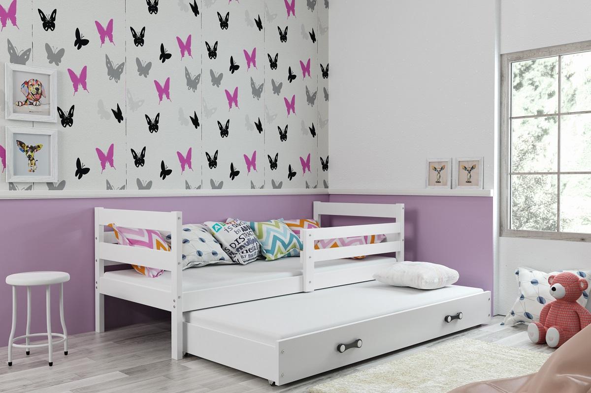 BMS Detská posteľ s prístelkou ERYK | BIELA Farba: biela / modrá, Rozmer.: 190 x 80 cm