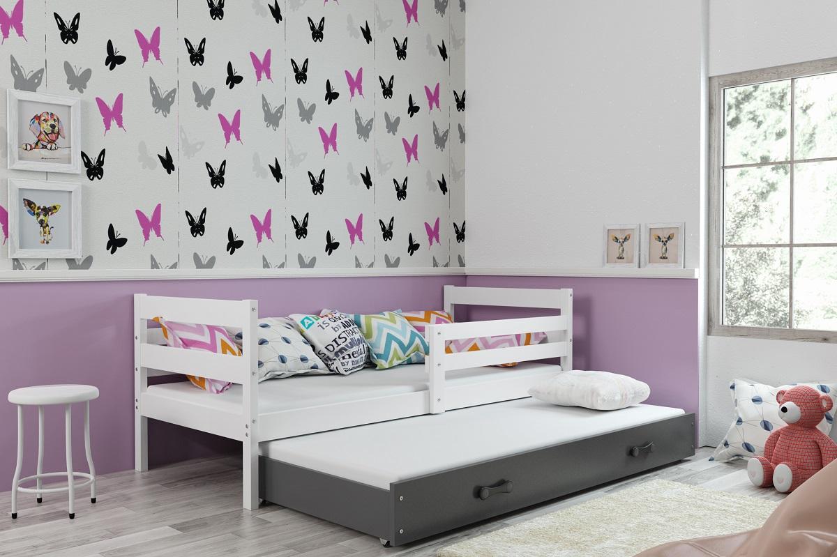 BMS Detská posteľ s prístelkou ERYK | BIELA Farba: biela / ružová, Rozmer.: 190 x 80 cm
