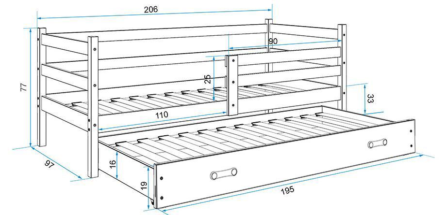 BMS Detská posteľ s prístelkou ERYK | BIELA Farba: biela / sivá, Rozmer.: 190 x 80 cm