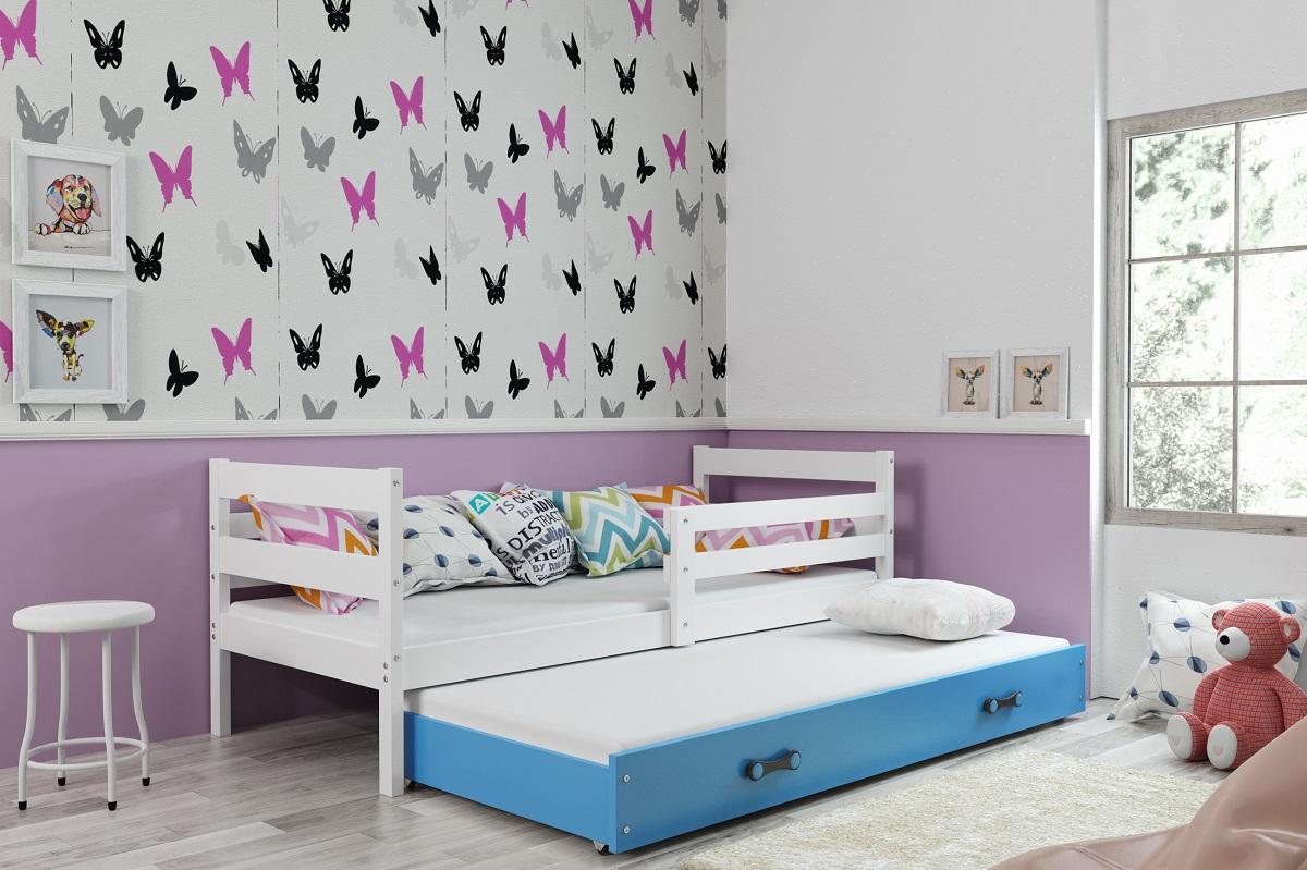 BMS Detská posteľ s prístelkou ERYK | BIELA Farba: biela / zelená, Rozmer.: 190 x 80 cm