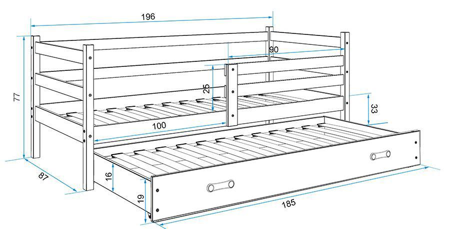 BMS Detská posteľ s prístelkou ERYK | BIELA Farba: Biela / biela, Rozmer.: 190 x 80 cm