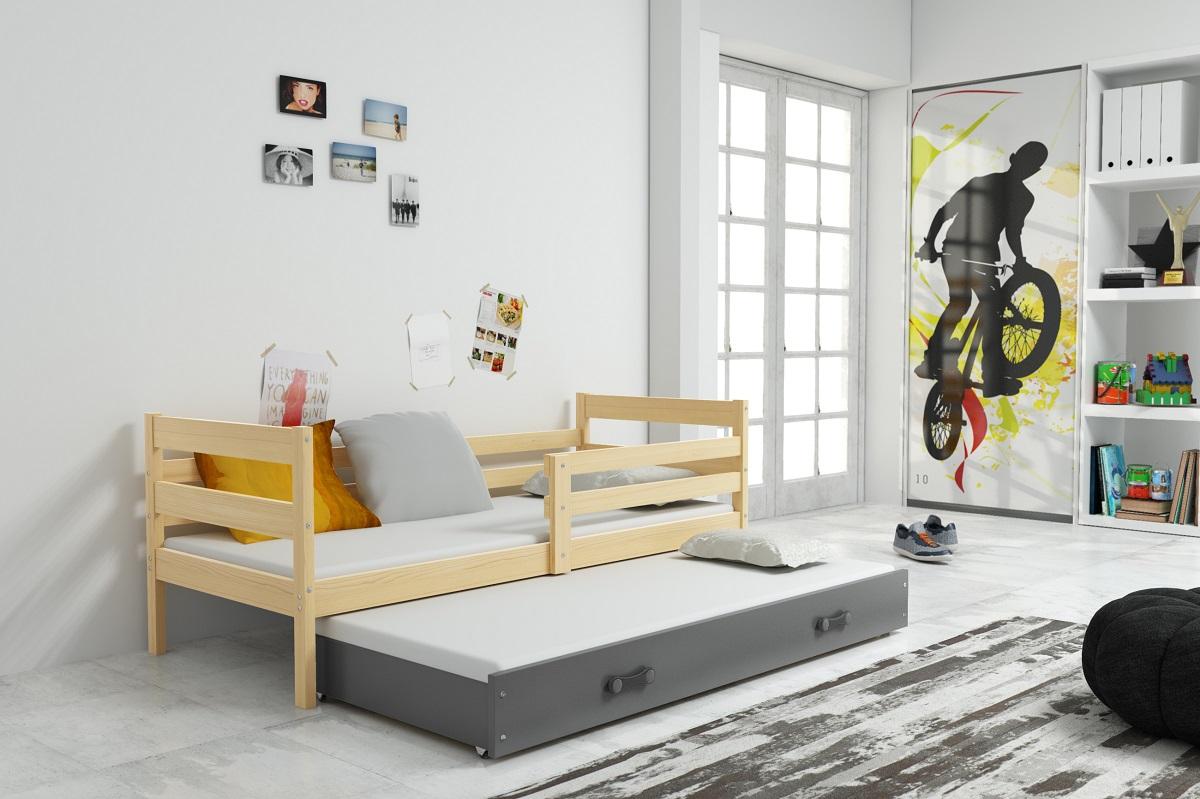 BMS Detská posteľ s prístelkou ERYK | BOROVICA Farba: Borovica / modrá, Rozmer.: 190 x 80 cm