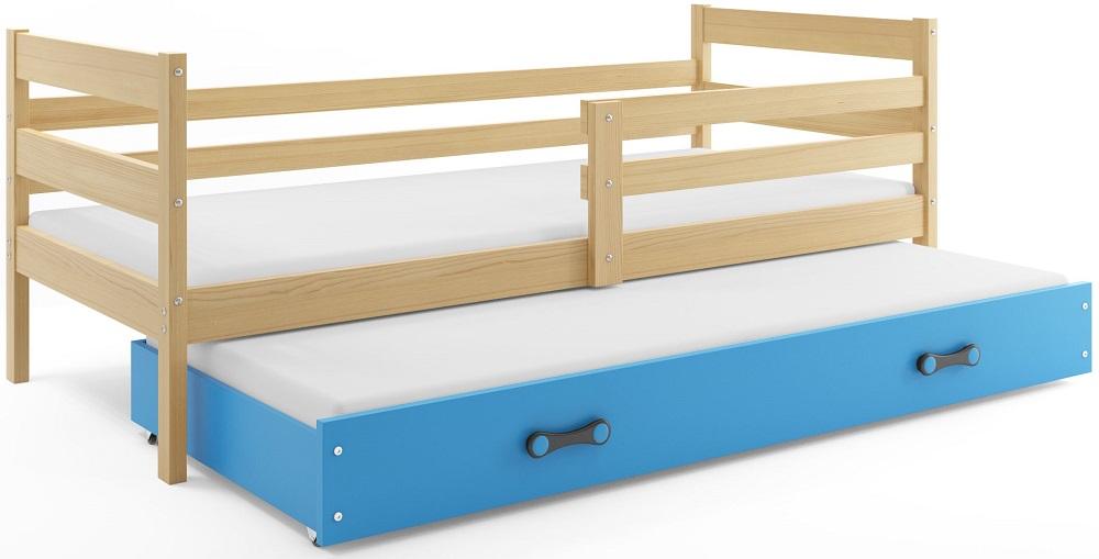 BMS Detská posteľ s prístelkou ERYK | BOROVICA Farba: Borovica / zelená, Rozmer.: 190 x 80 cm