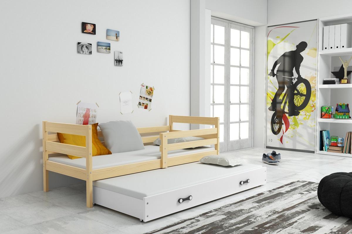 BMS Detská posteľ s prístelkou ERYK | BOROVICA Farba: Borovica / biela, Rozmer.: 190 x 80 cm
