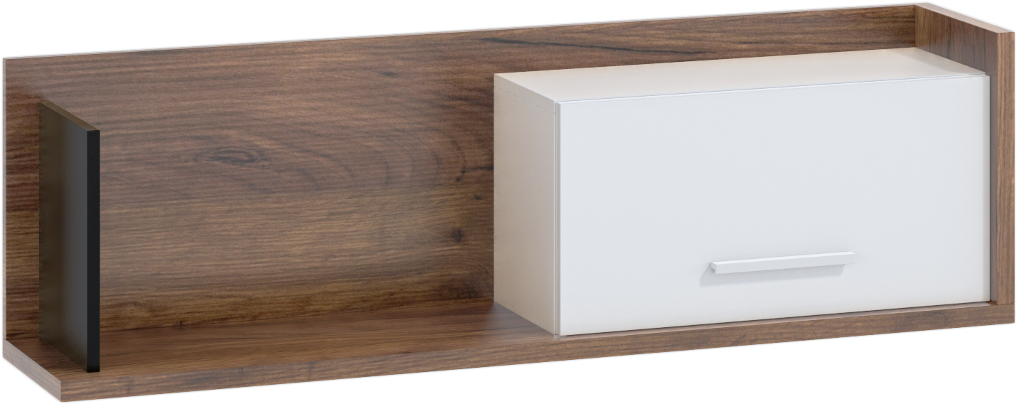 WIP Polica so skrinkou 1D BOX-11 Farba: craft tobaco / biela / čierna