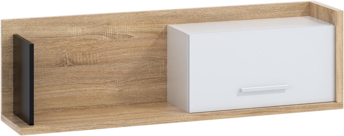 WIP Polica so skrinkou 1D BOX-11 Farba: dub sonoma svetlá / biela / čierna