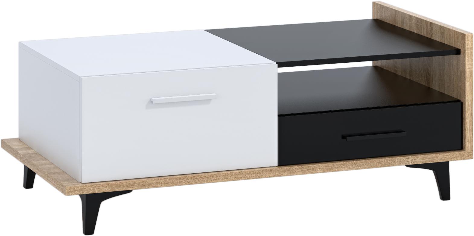 WIP Konferenčný stolík 2D2S BOX-03 Farba: dub sonoma svetlá / biela / čierna