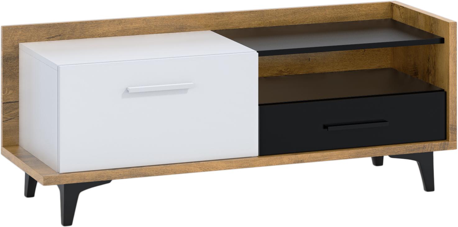 WIP TV stolík 1D1S BOX-08 Farba: dub burgun / biela / čierna