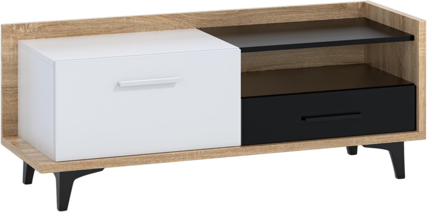 WIP TV stolík 1D1S BOX-08 Farba: dub sonoma svetlá / biela / čierna