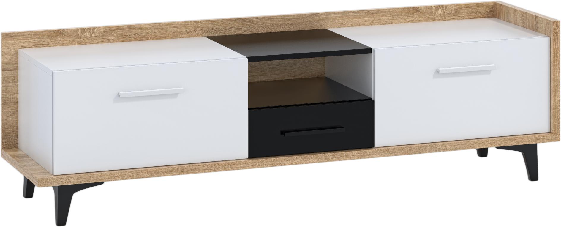 WIP TV stolík 2D1S BOX-09 Farba: dub sonoma svetlá / biela / čierna