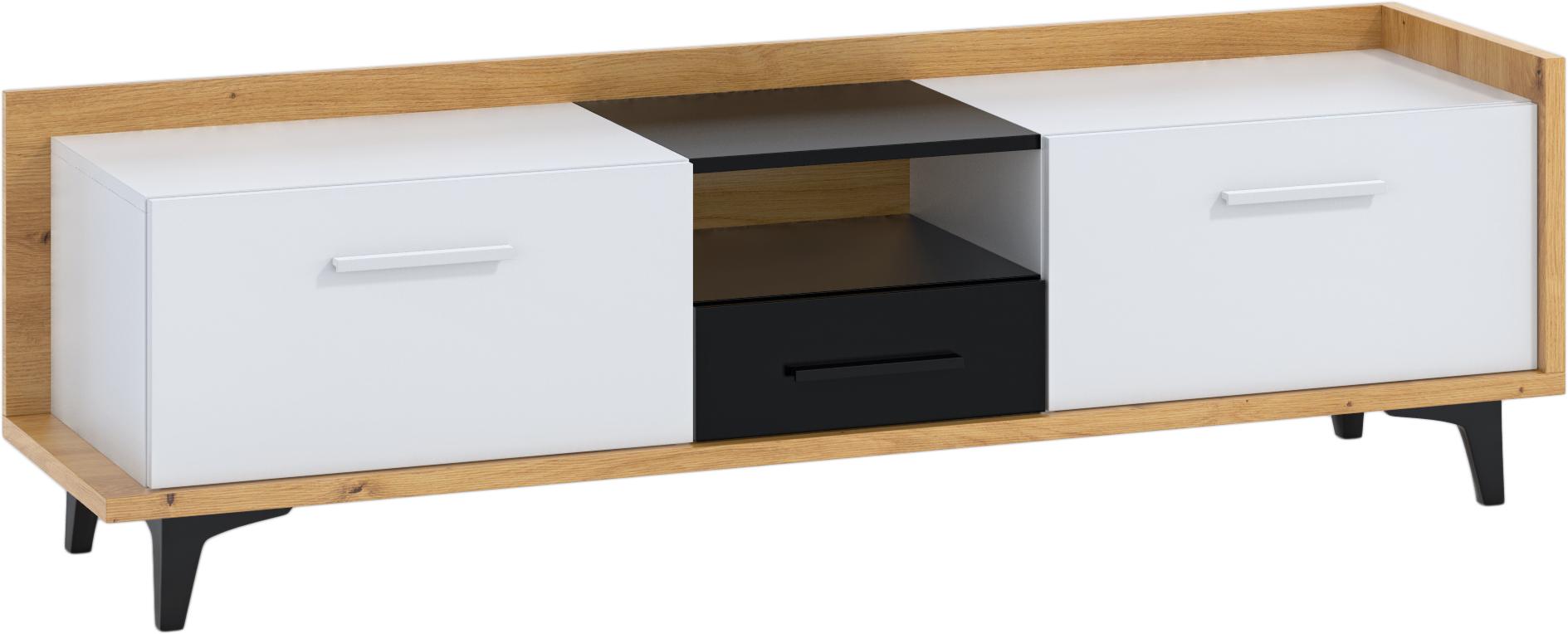 WIP TV stolík 2D1S BOX-09 Farba: dub artisan / biela / čierna