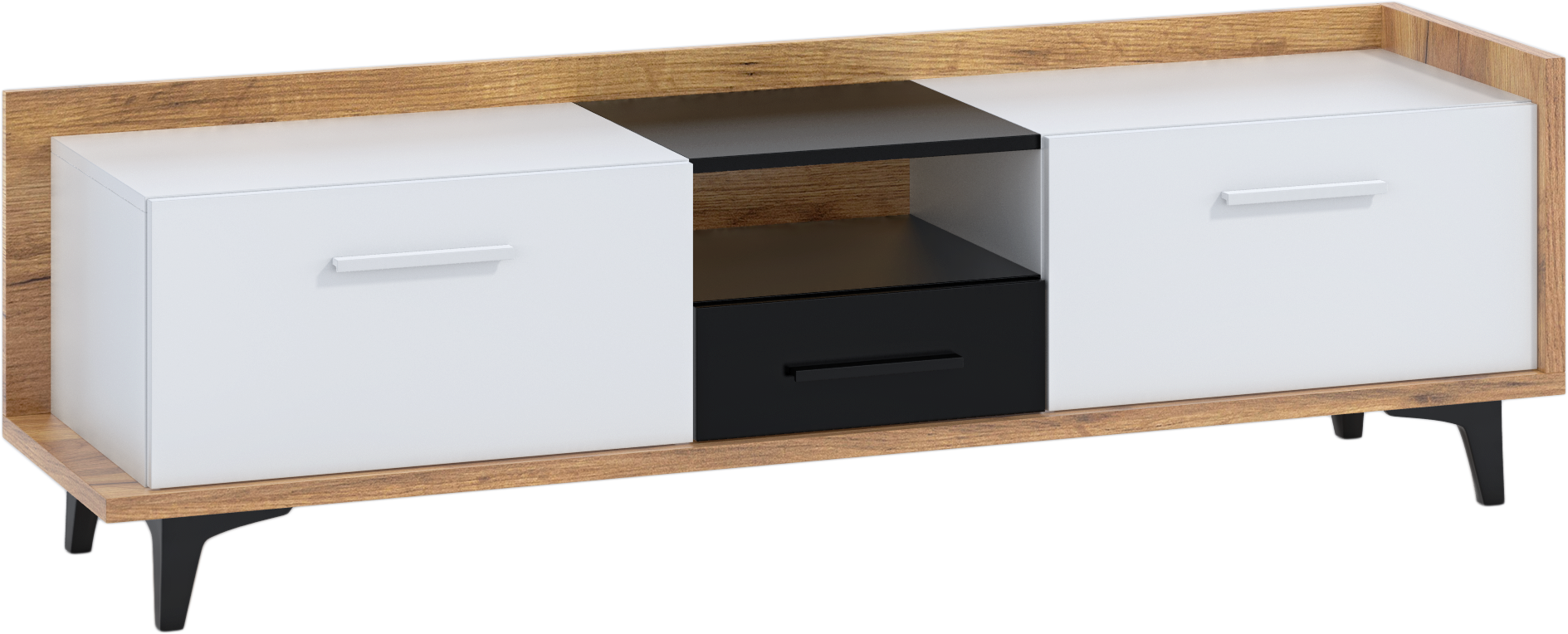 WIP TV stolík 2D1S BOX-09 Farba: craft zlatý / biela / čierna