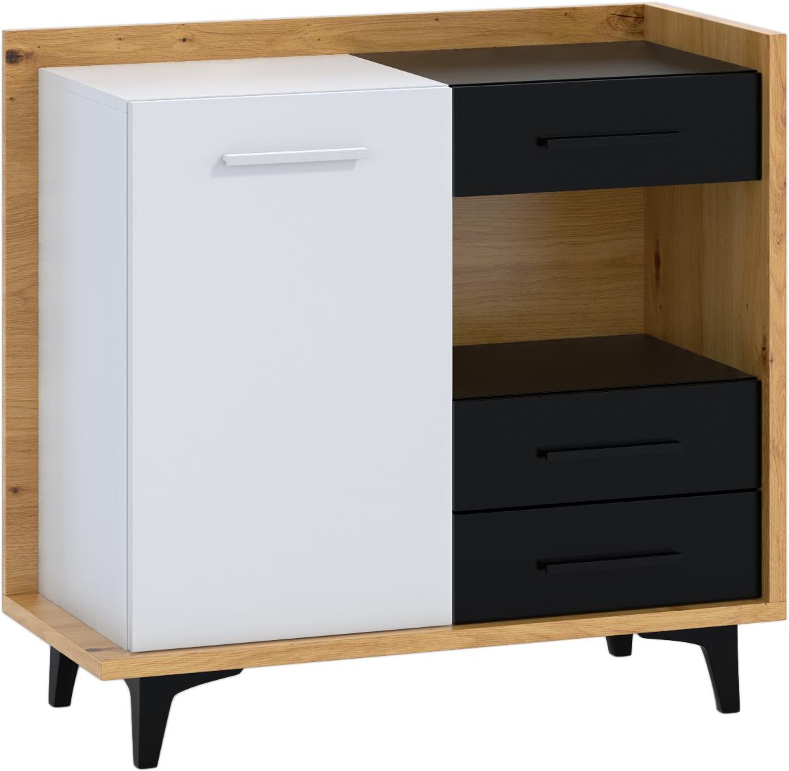 WIP Komoda 1D3S BOX-01 Farba: dub artisan / biela / čierna