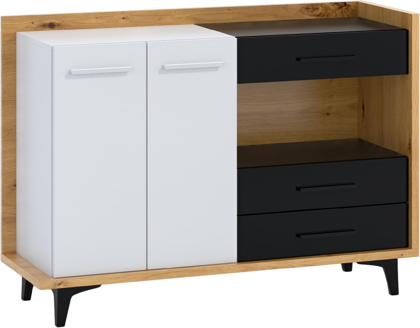 WIP Komoda 2D3S BOX-02 Farba: dub artisan / biela / čierna