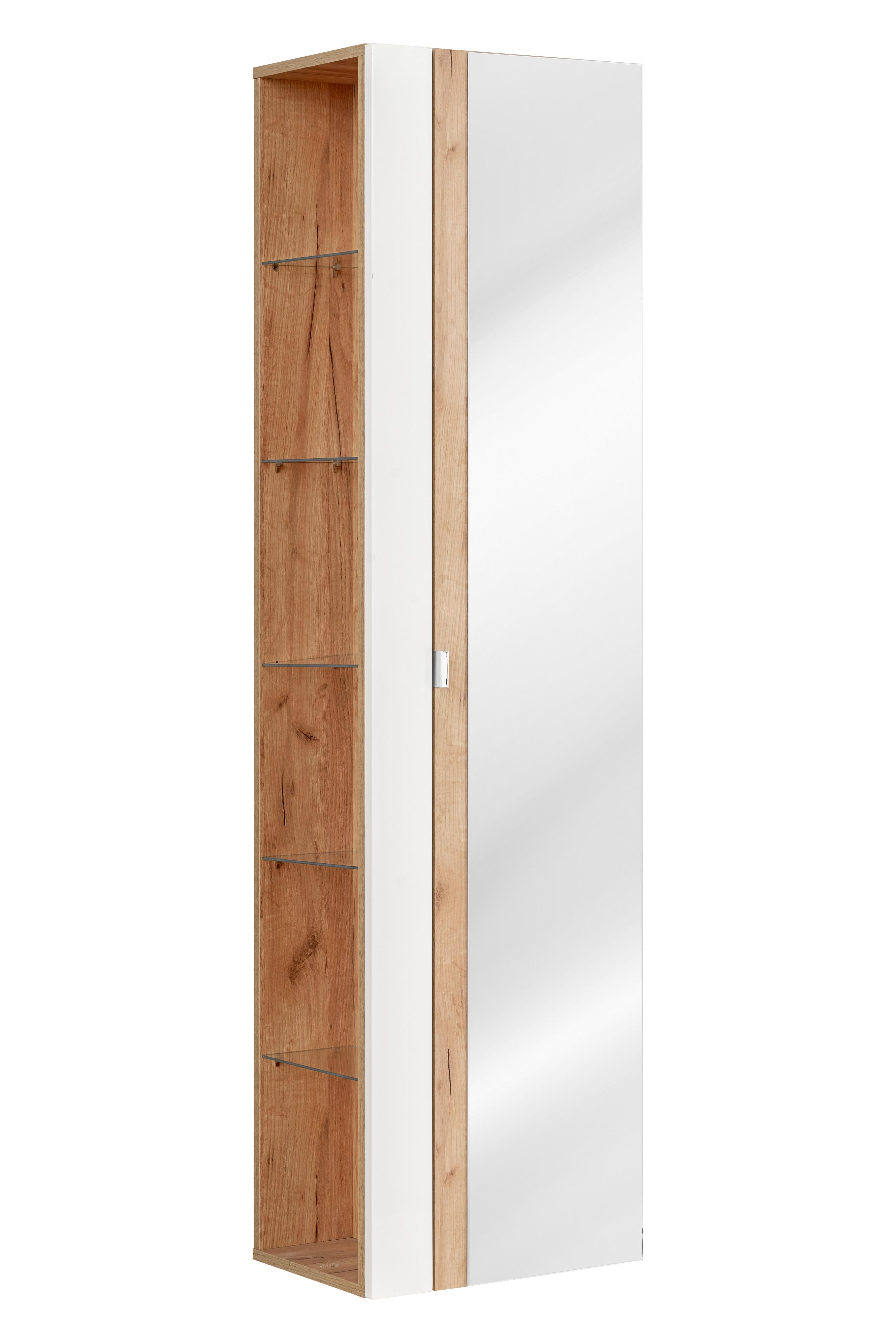 ArtCom Kúpeľňová zostava Capri   biela Capri   biela: Vysoká skrinka so zrkadlom 803