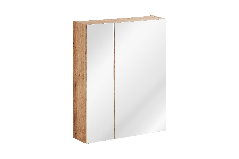 ArtCom Kúpeľňová zostava Capri | biela Capri | dub zlatý: Horná zrkadlová skrinka 842 - 60 cm