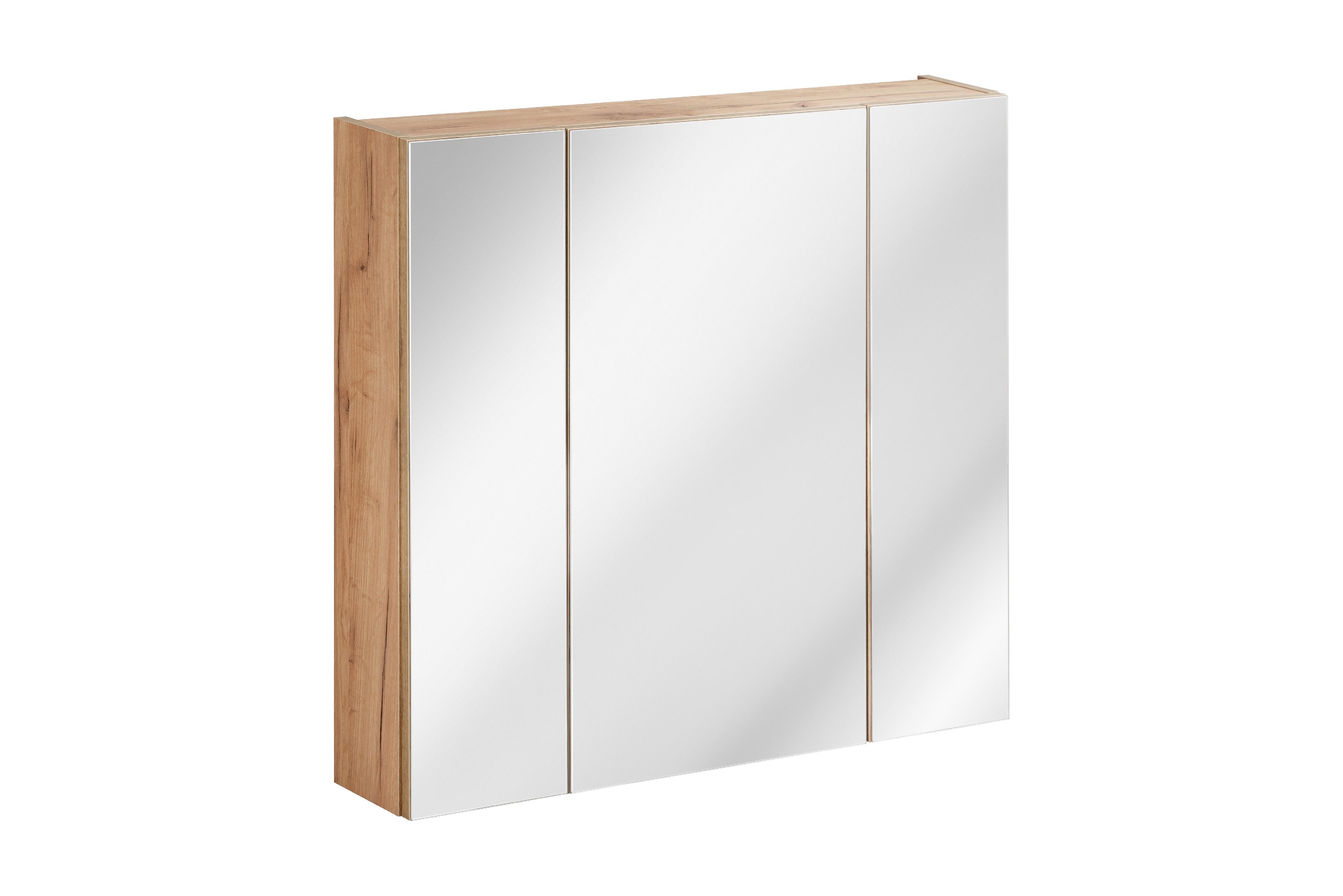 ArtCom Kúpeľňová zostava Capri   biela Capri   dub zlatý: Horná zrkadlová skrinka 843 - 80 cm